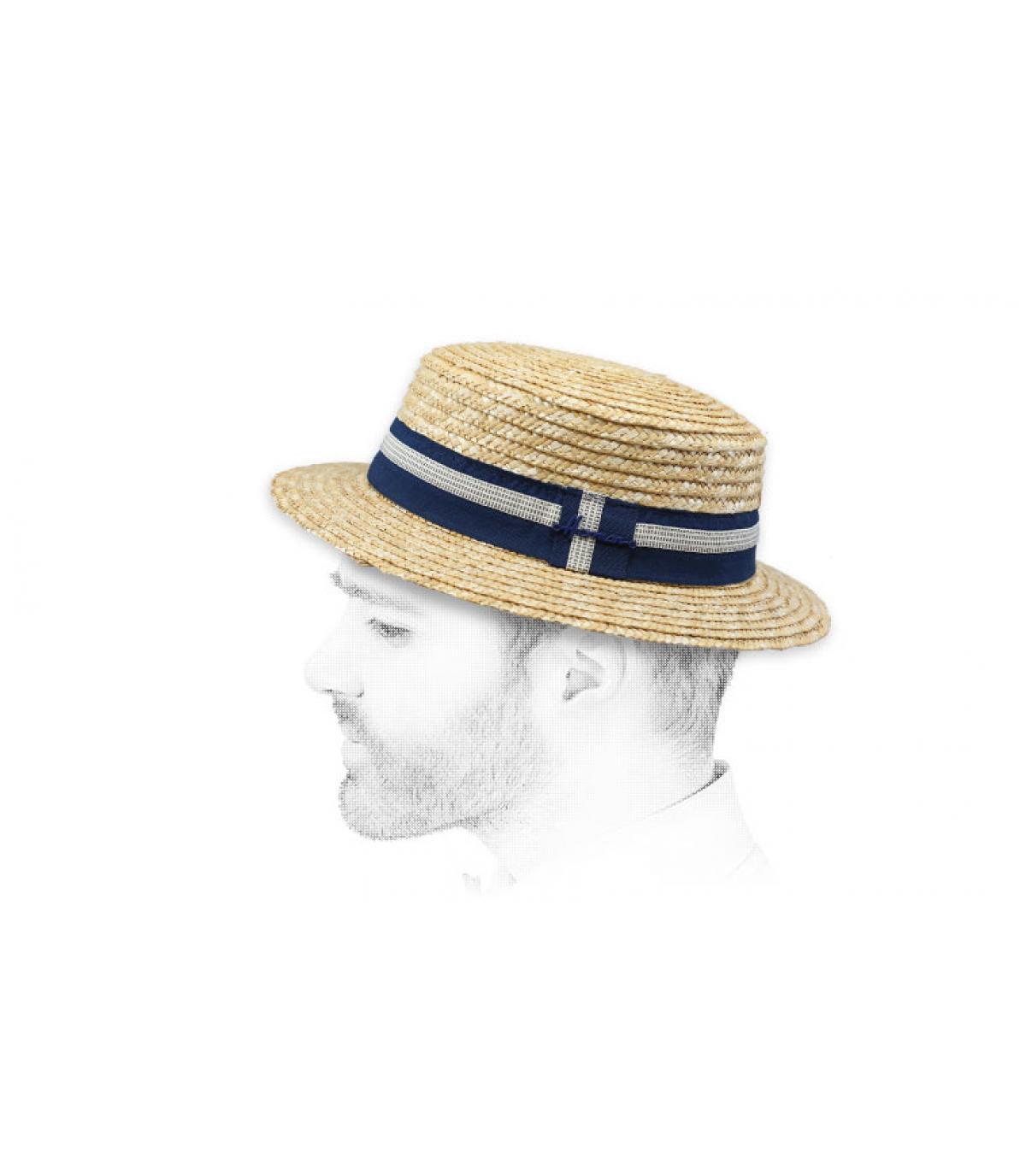 Cappello di paglia alla fragola a strisce