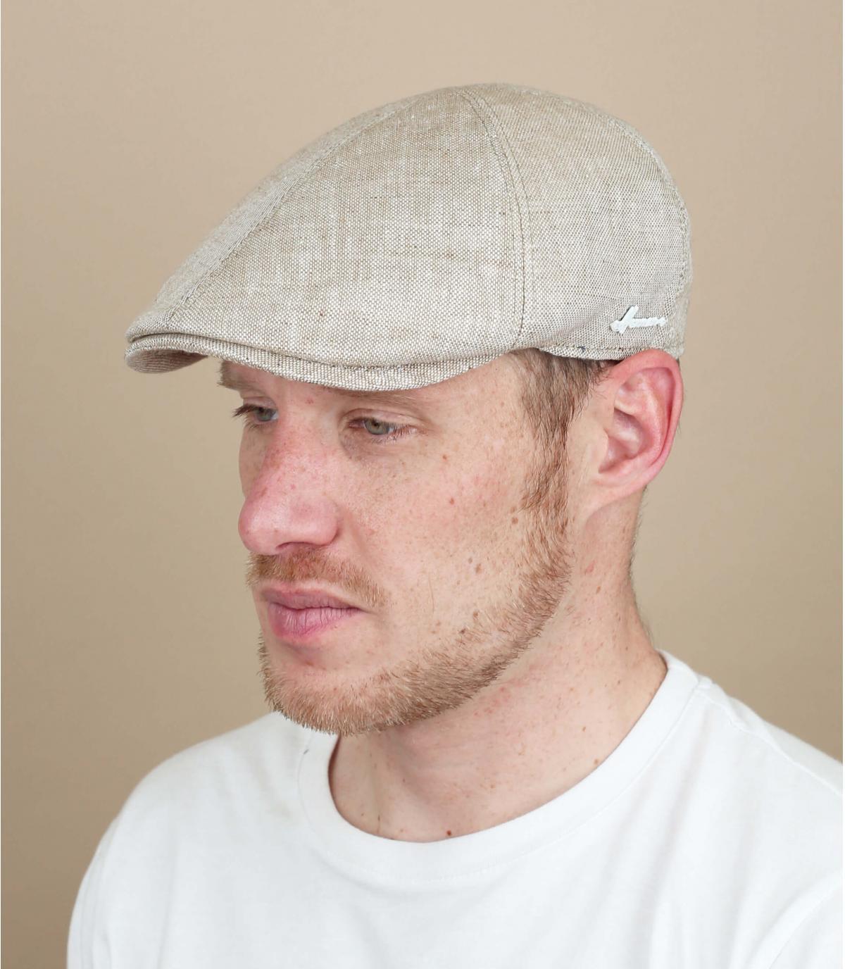 berretto di lino beige Herman