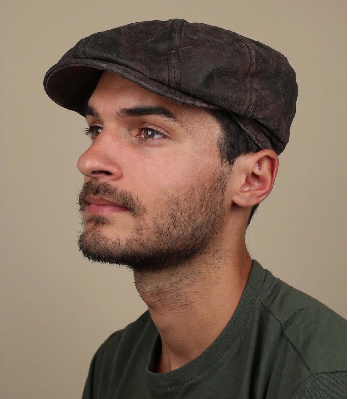 Cappellino pelle brun