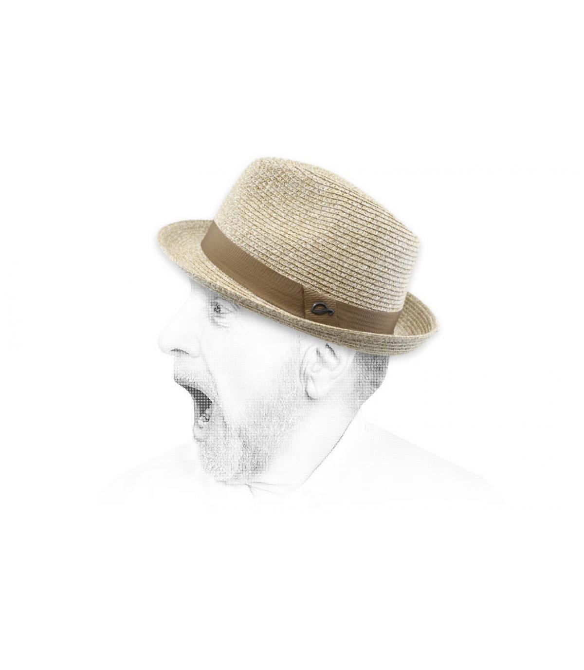 treccia di paglia beige trilby