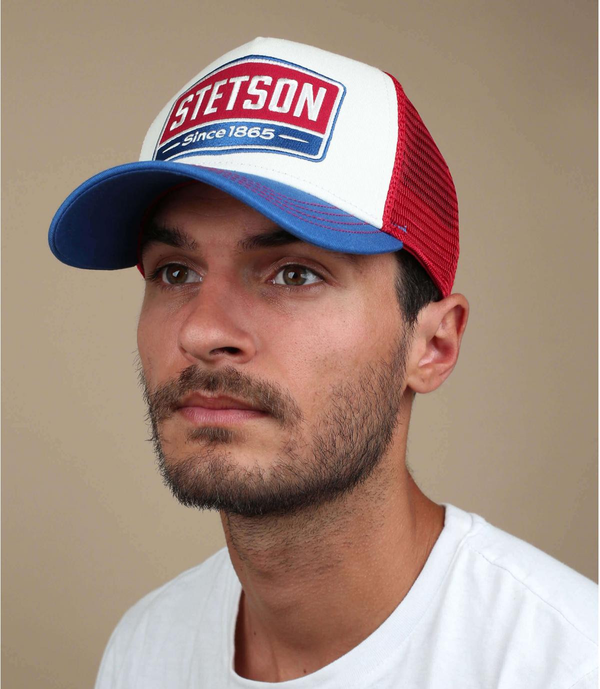 trucker Stetson blu rosso bianco