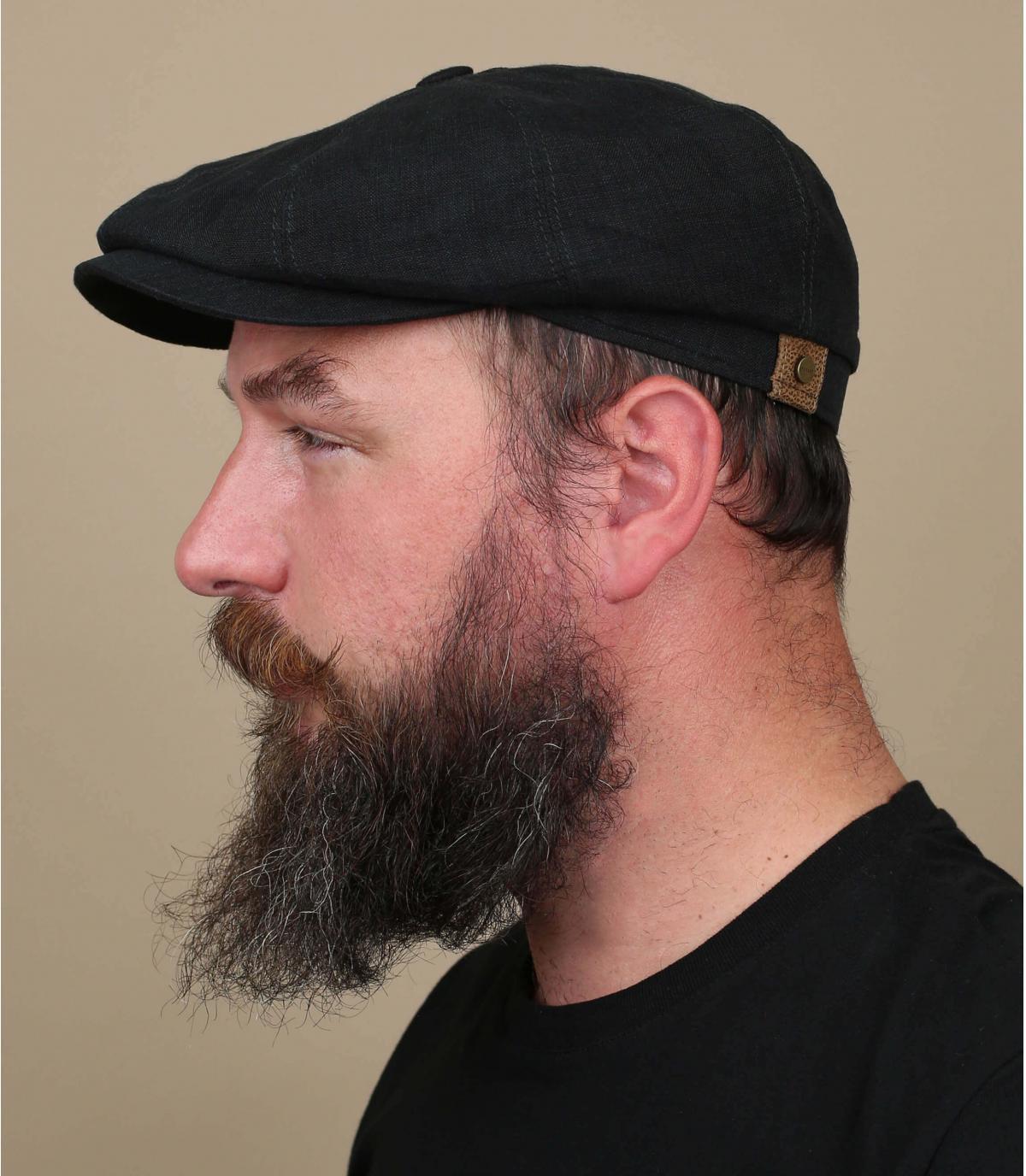 berretto newsboy di lino nero