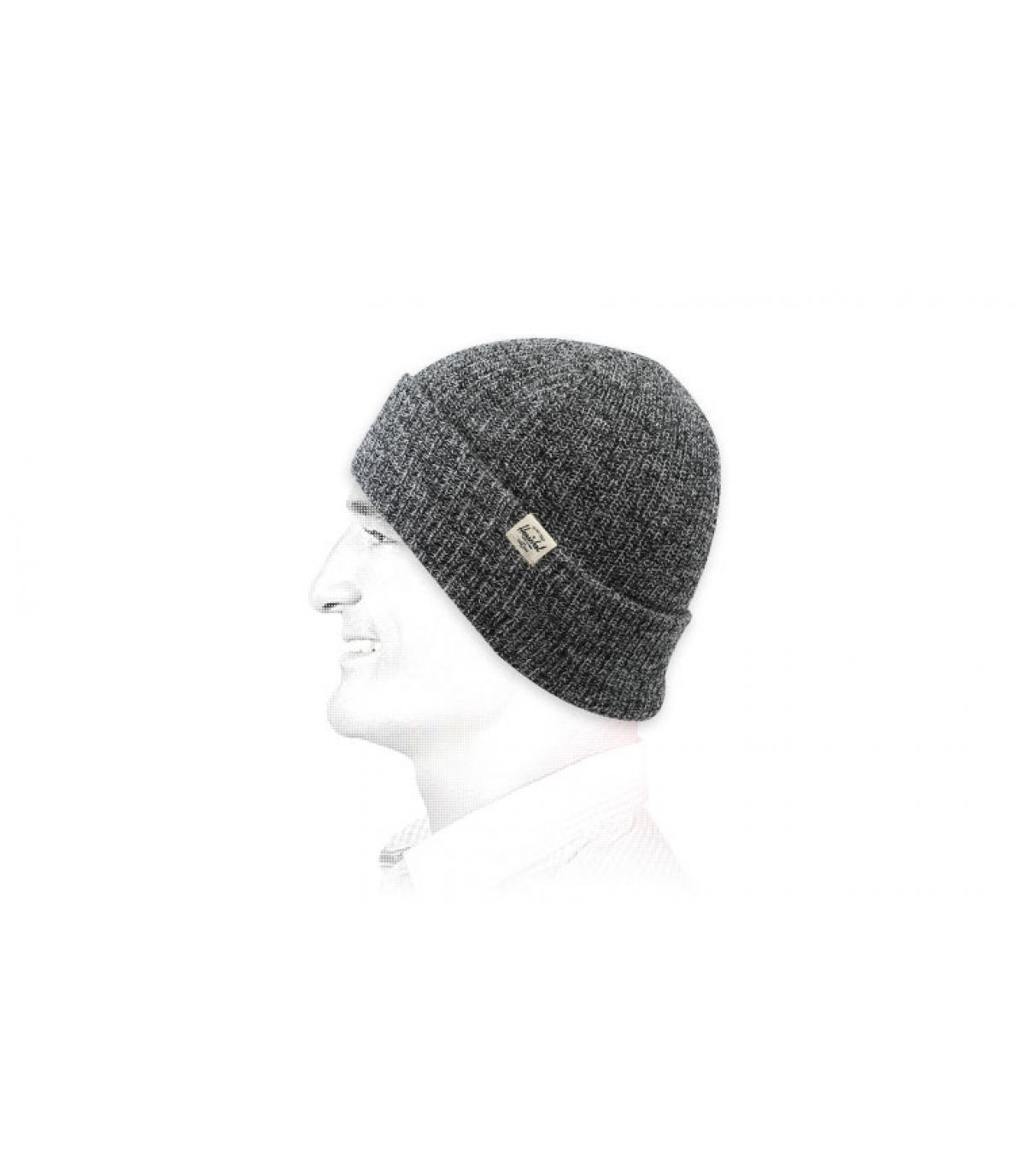 Cappellino Herschel grigio con risvolto