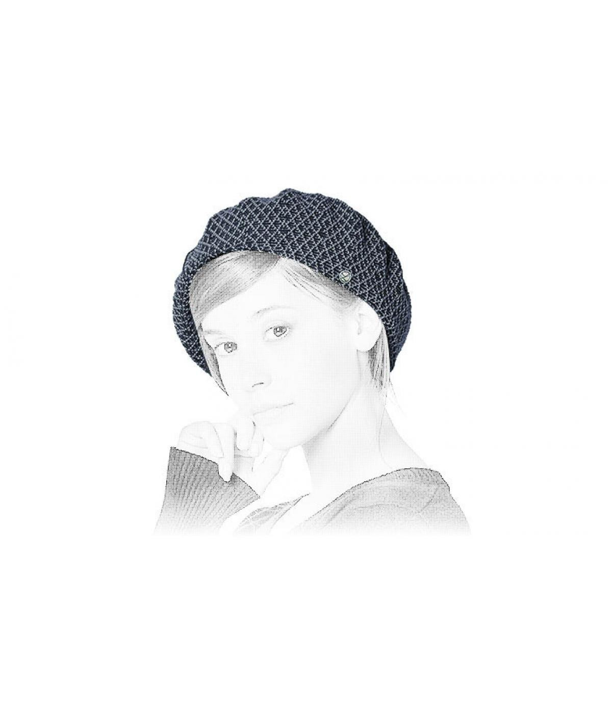 berretto di cotone blu bianco