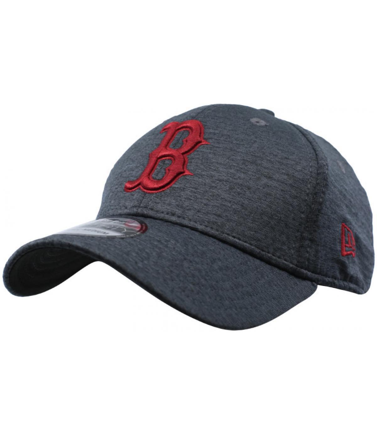 berretto B bordeaux nero
