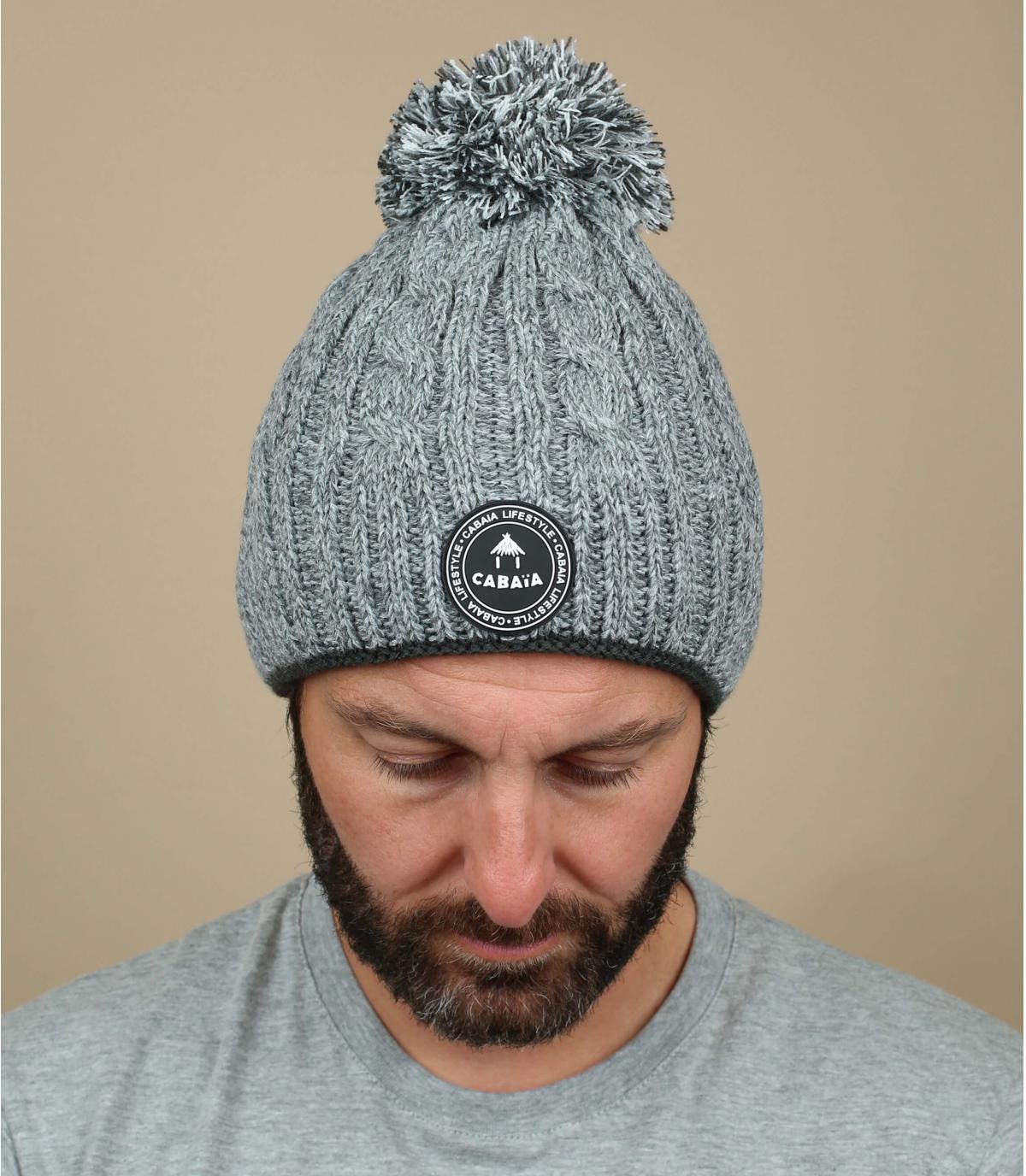 cappellino pompom grigio