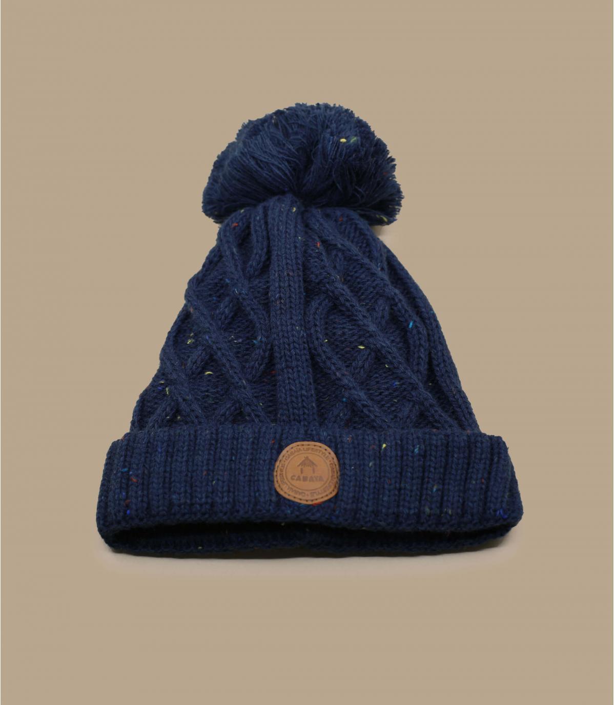 pompons blu del cappello del bambino