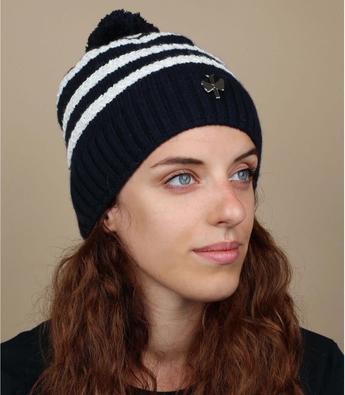 cappello in cashmere di lana a righe