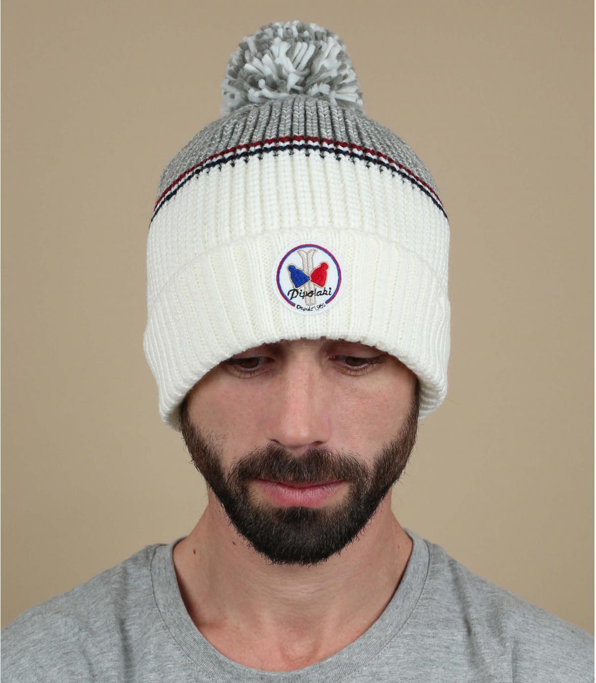 cappello pompon bianco grigio
