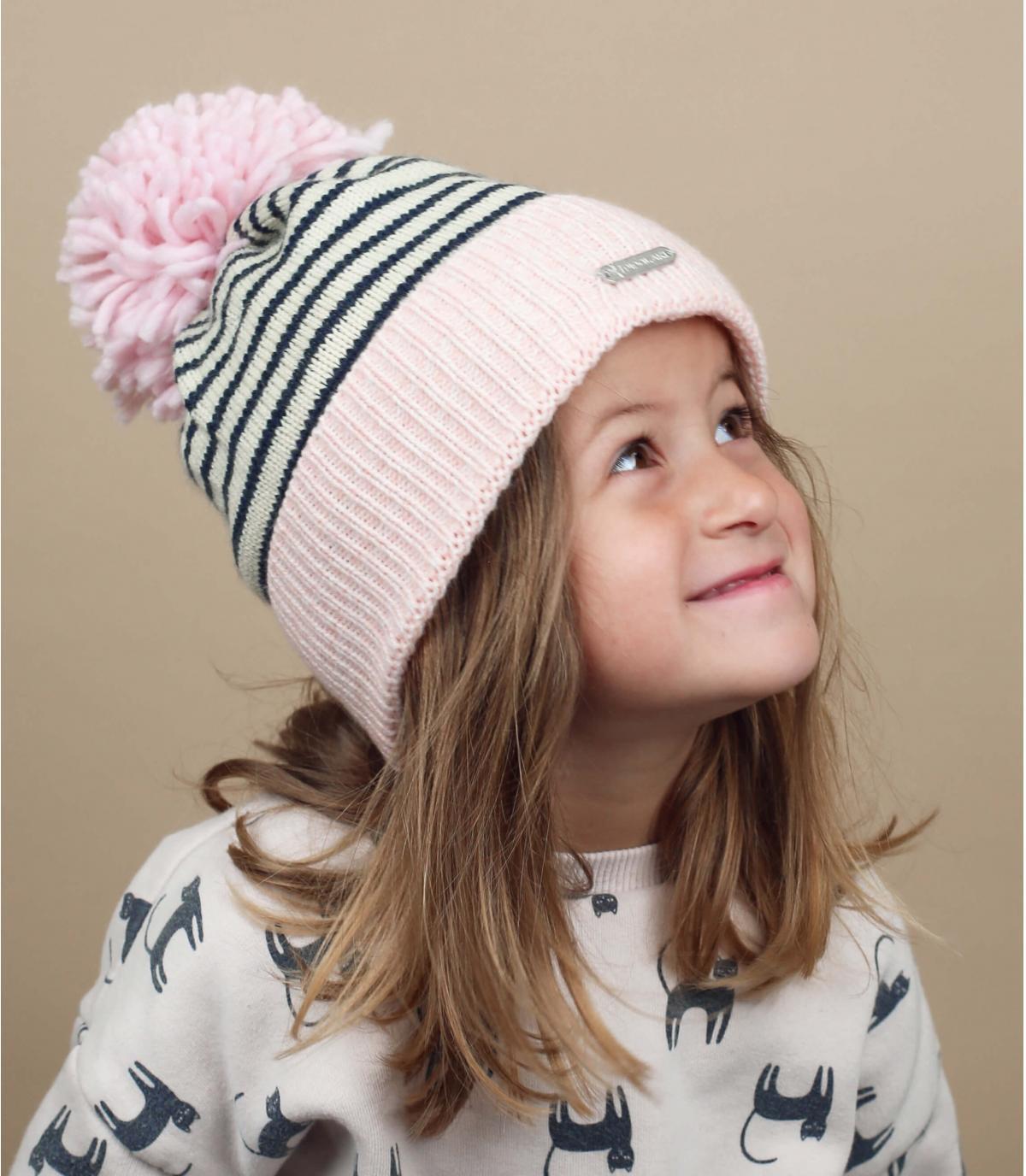 cappello bambino pompon rosa