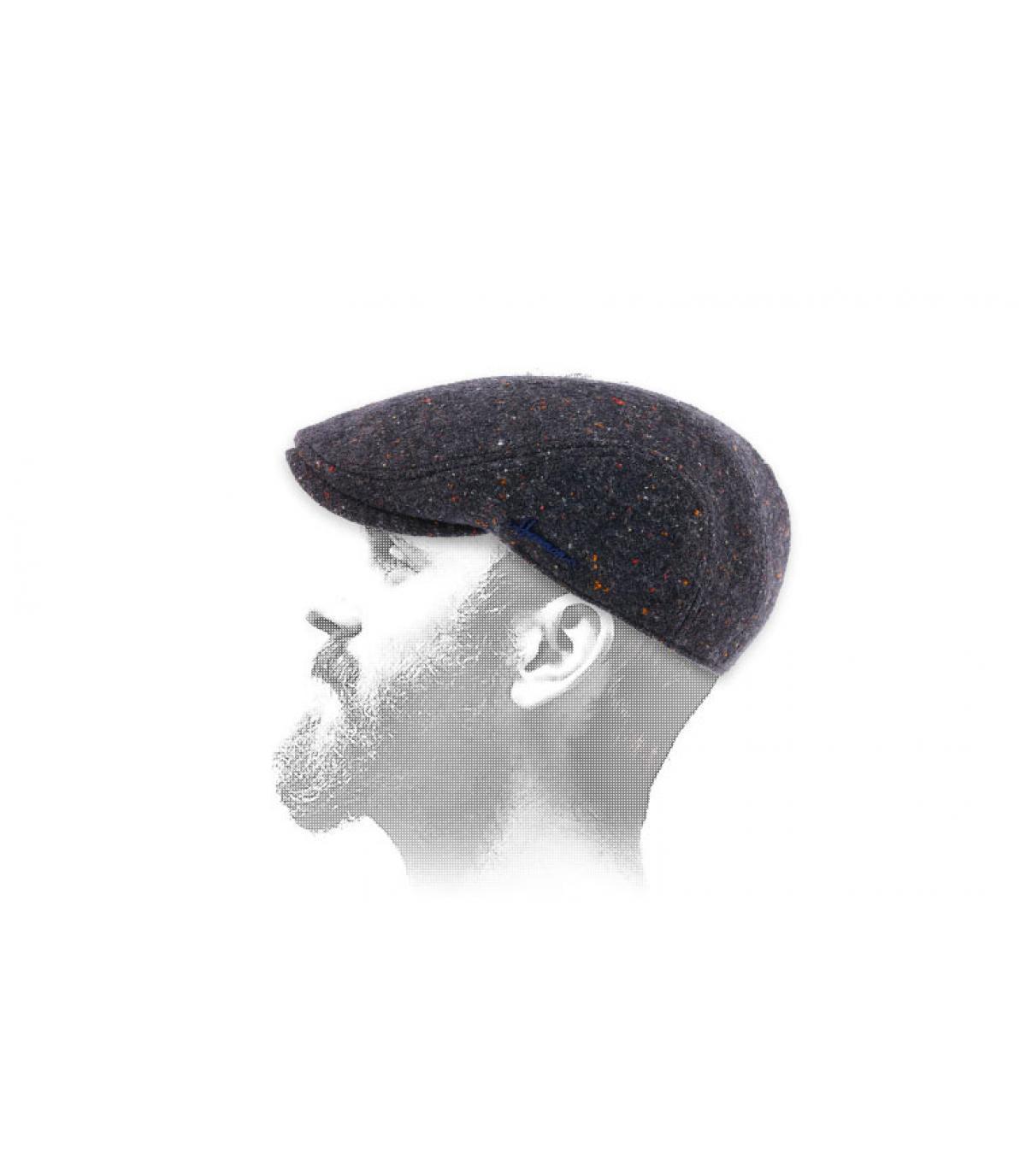 berretto blu lana chiazzata