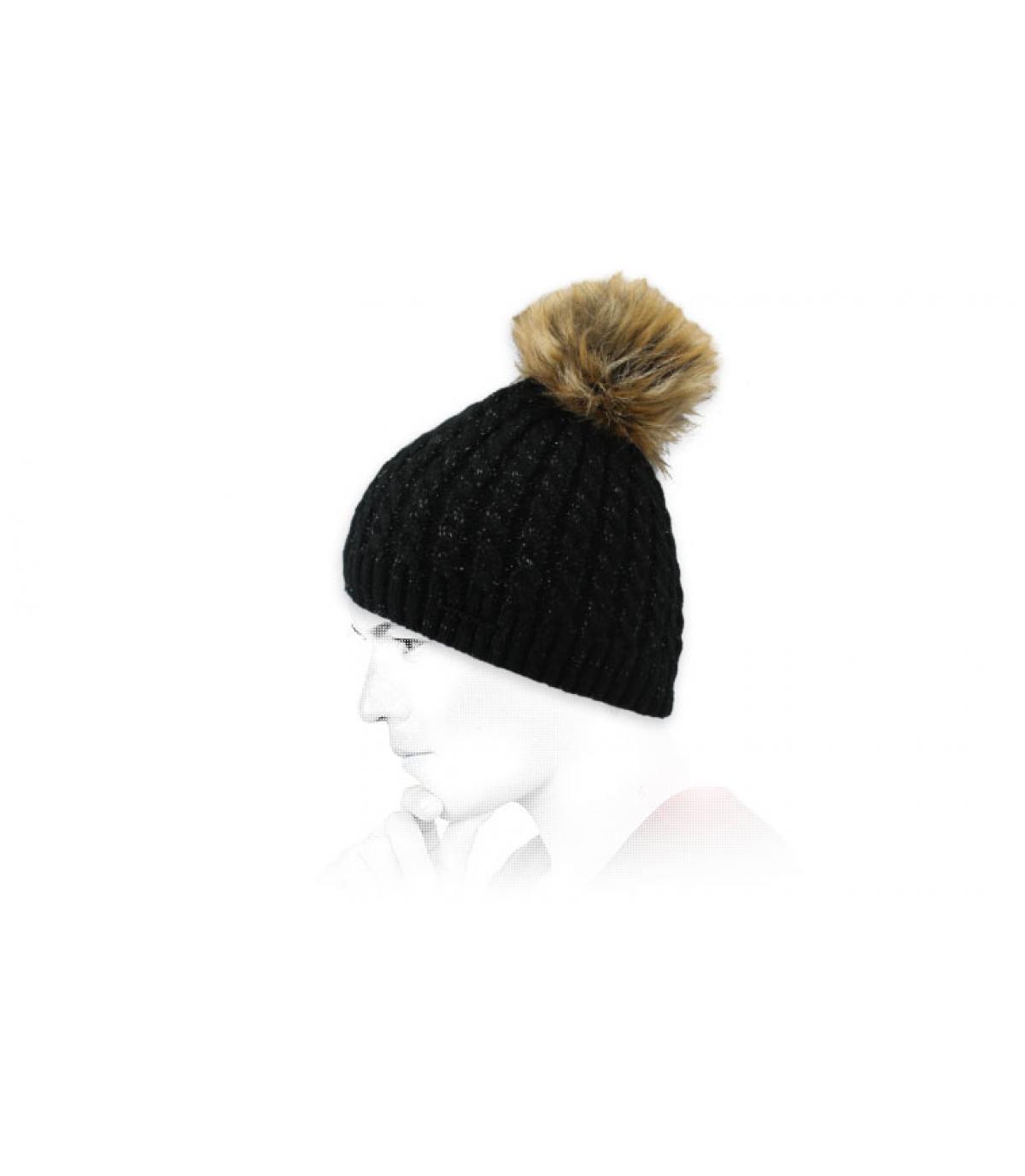 berretto con pompon in pelliccia nera