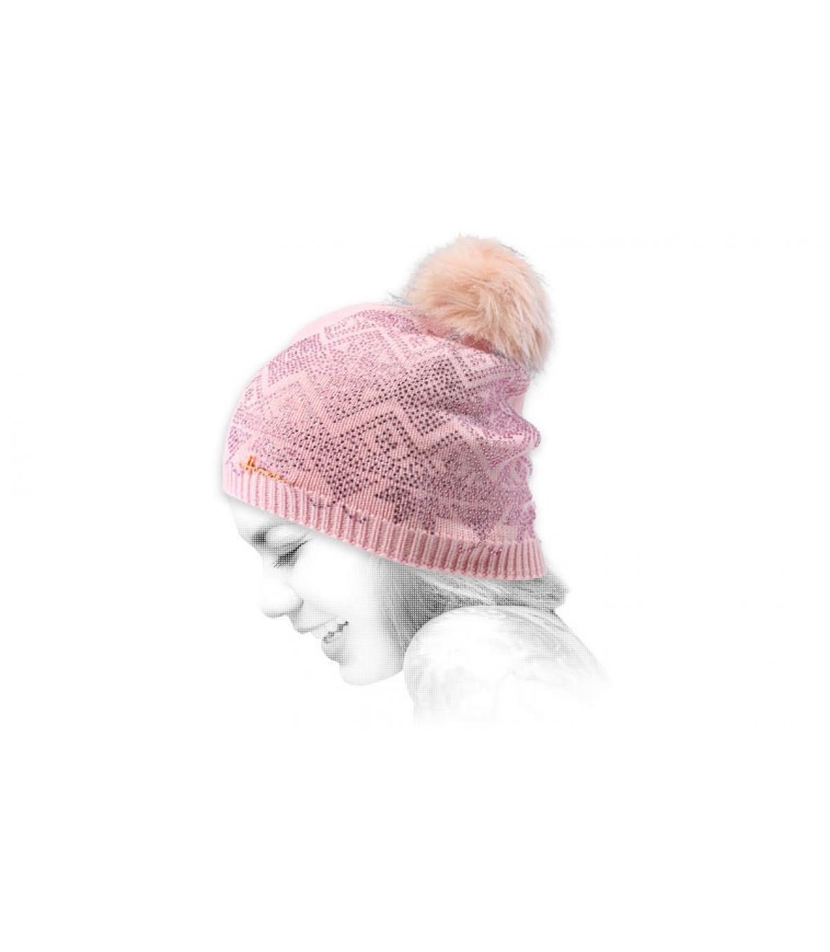 pelliccia di strass rosa cofano