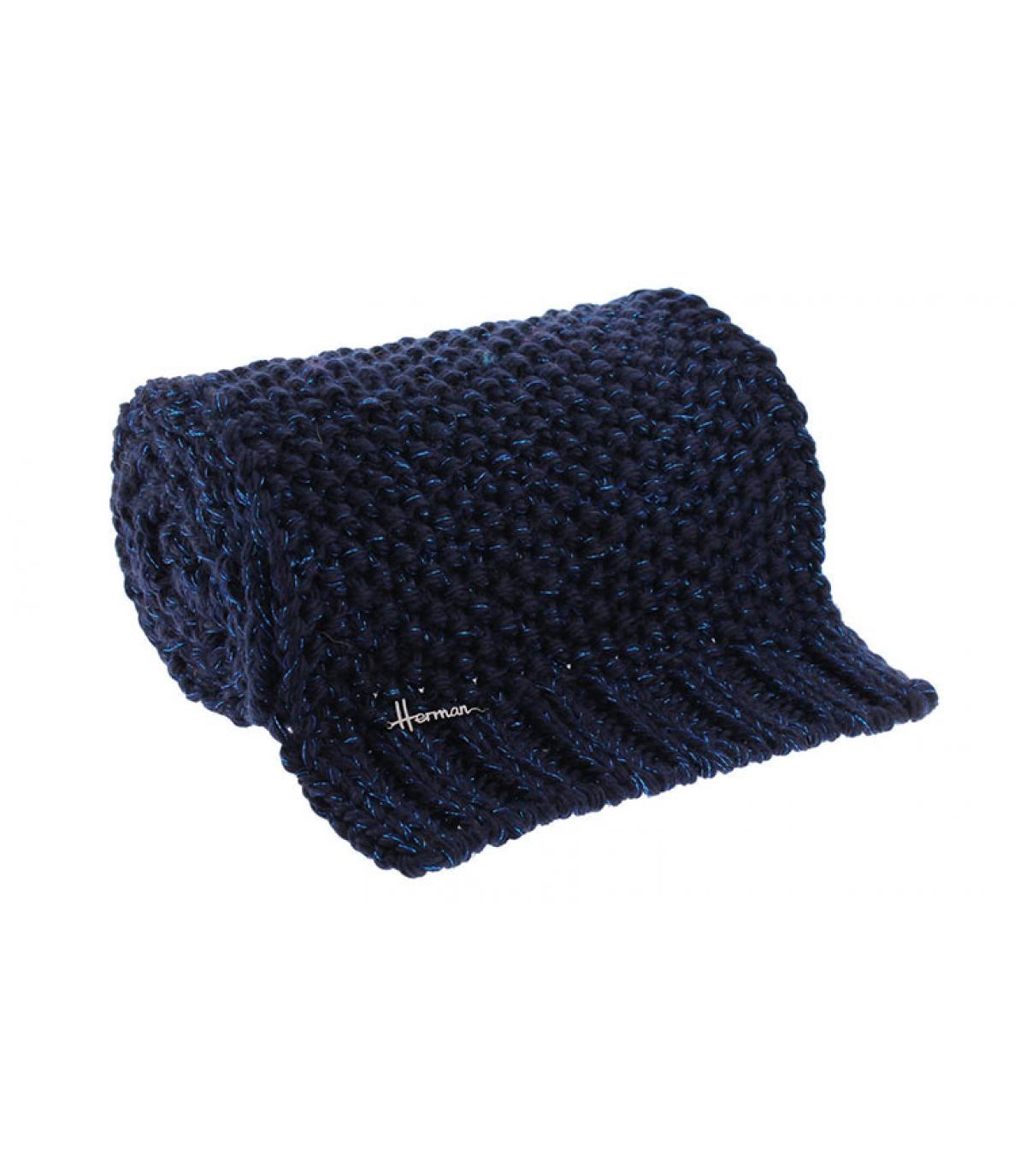 sciarpa in lurex di lana blu