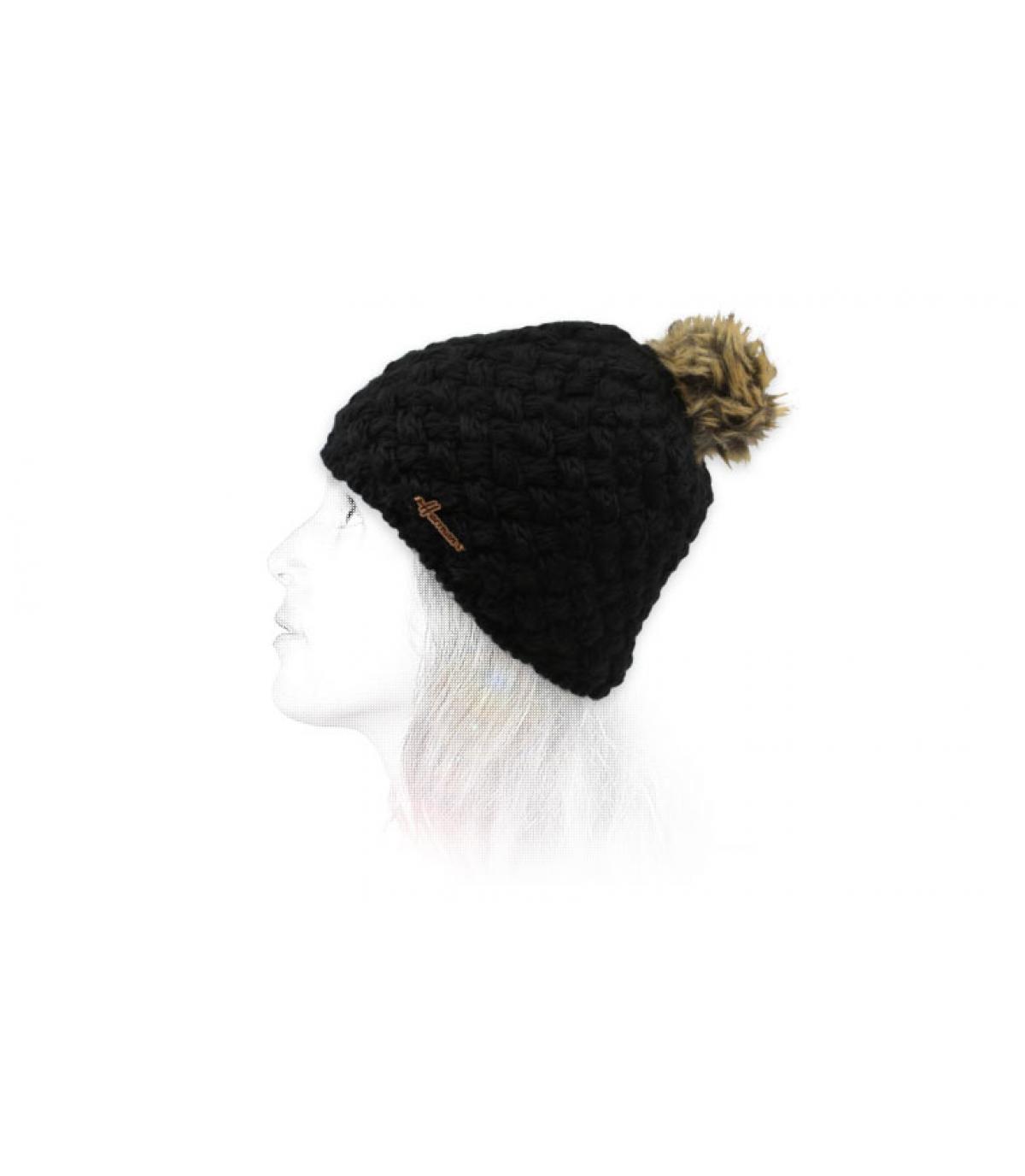 cappello di lana nero pompon