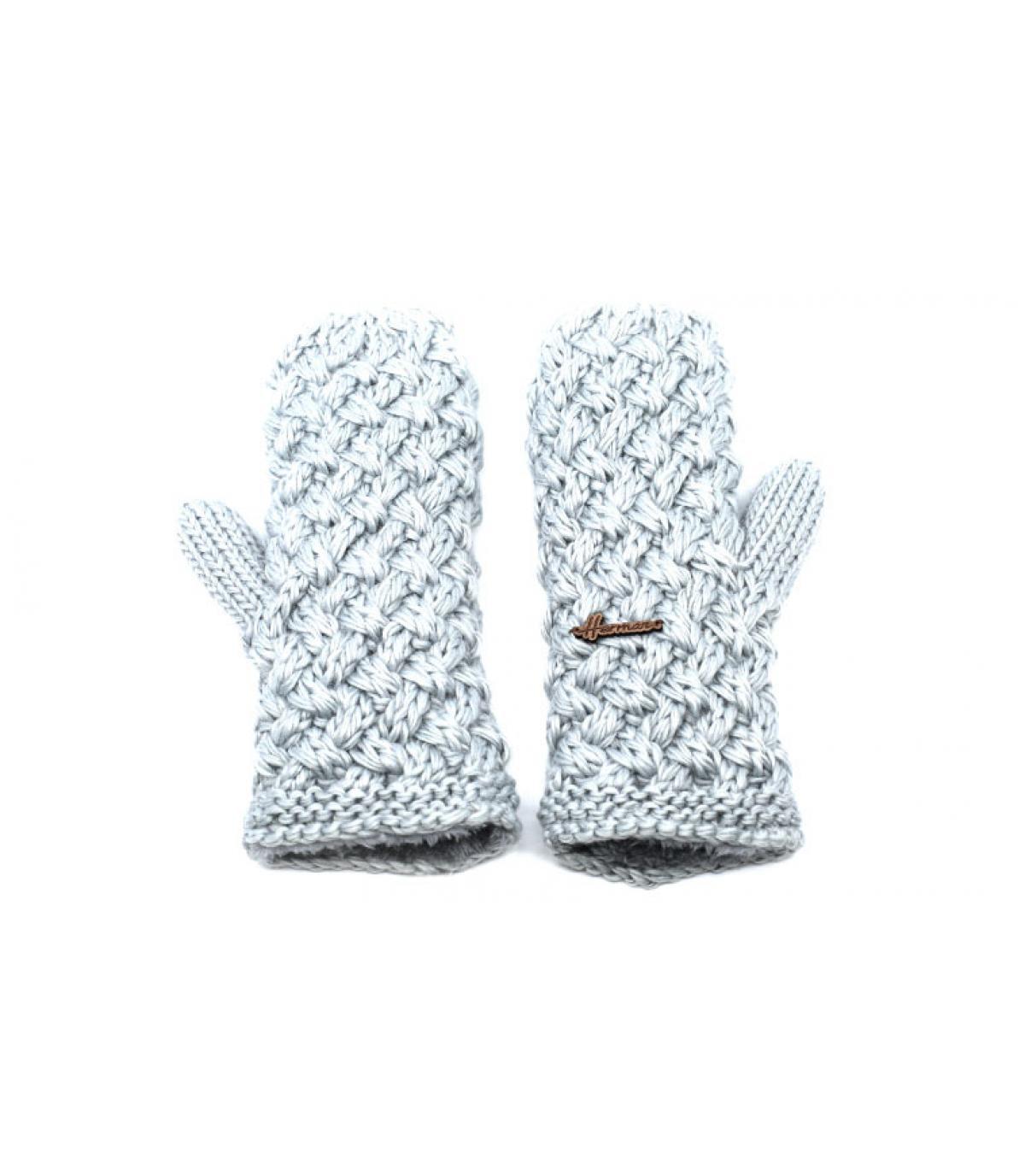 guanti in lana beige