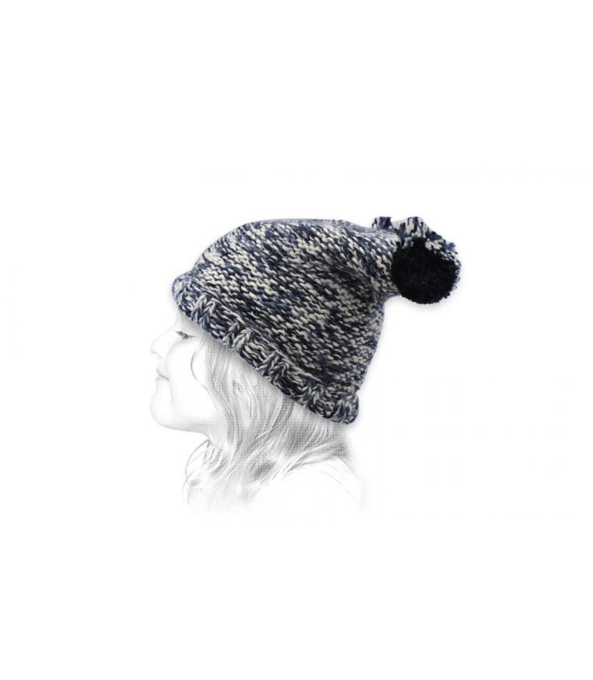 cappello bambino pompons blu
