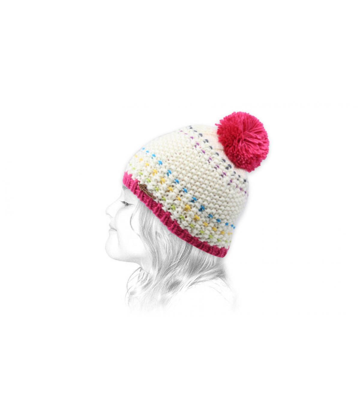 cappello nappa bambino beige bordeaux