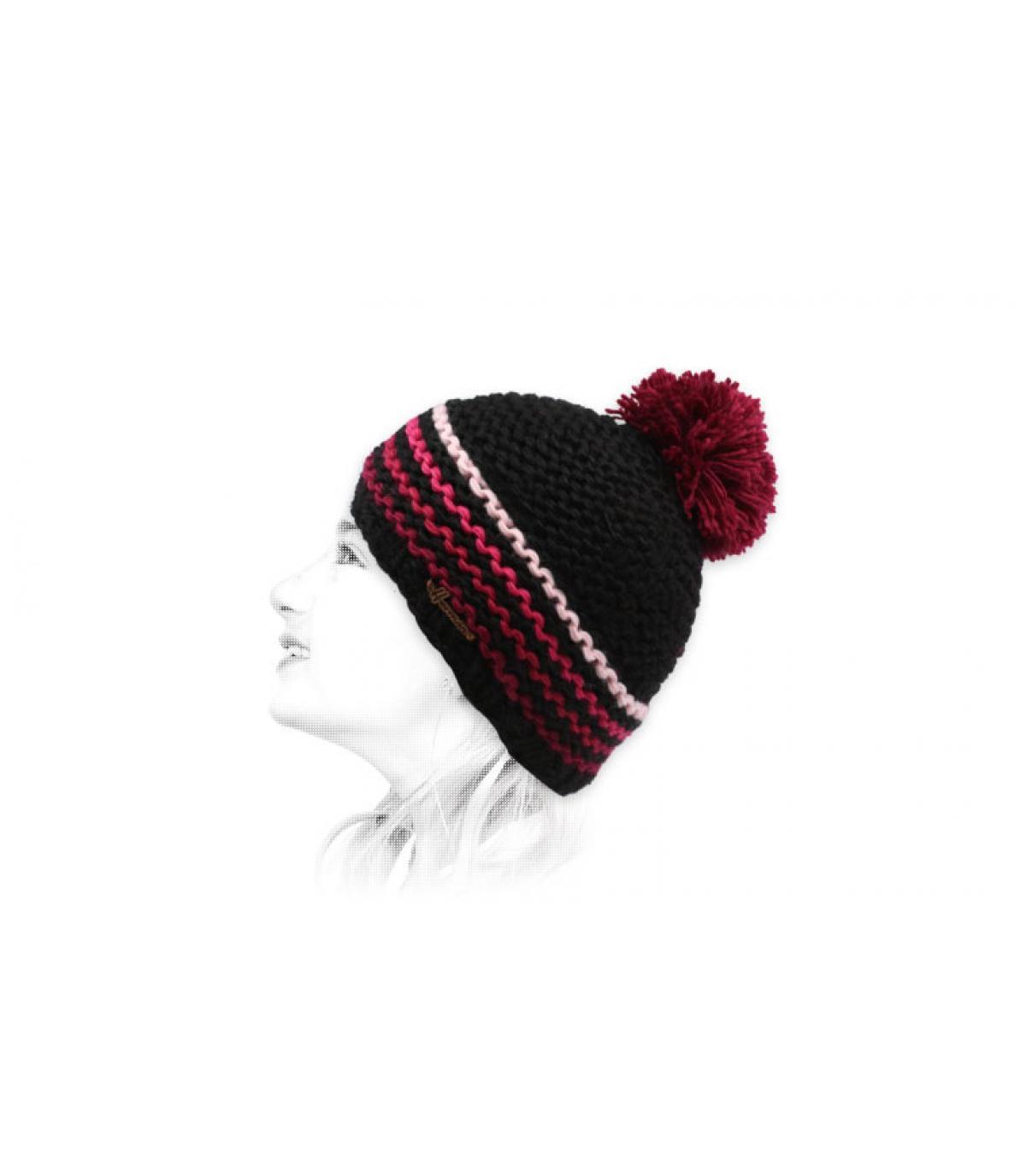 berretto con nappe rosa e nero