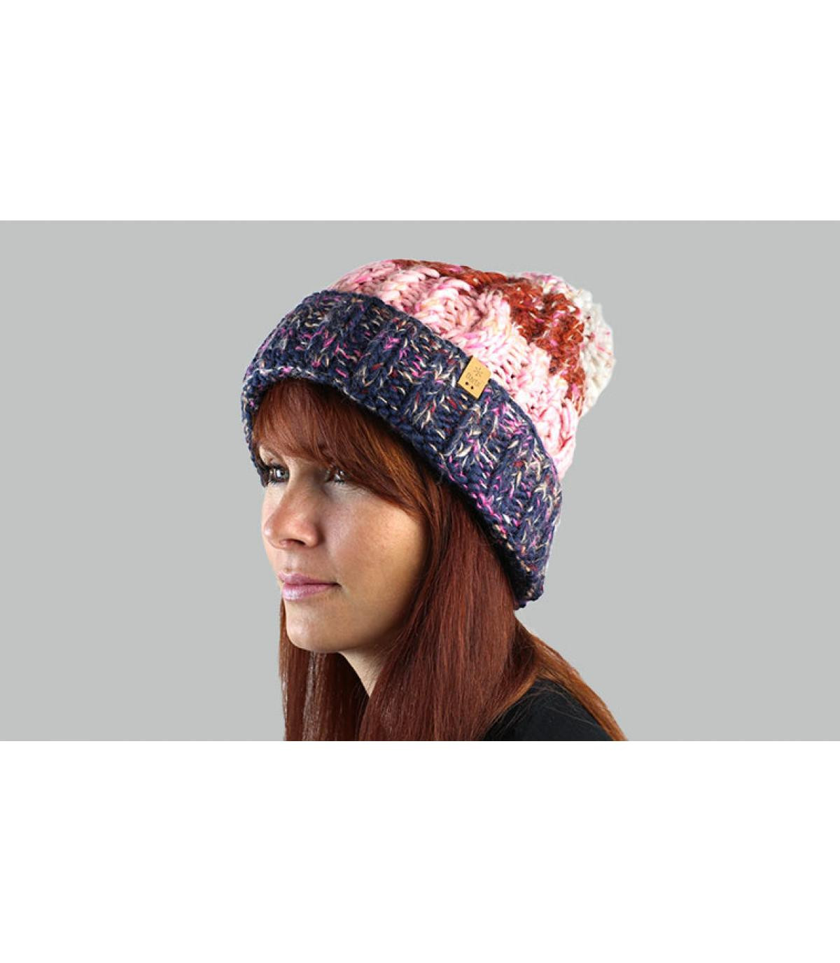 strisce di cappello nappa blu marrone