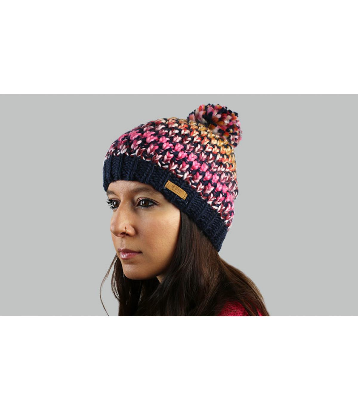 cappello nappa a strisce blu rosa