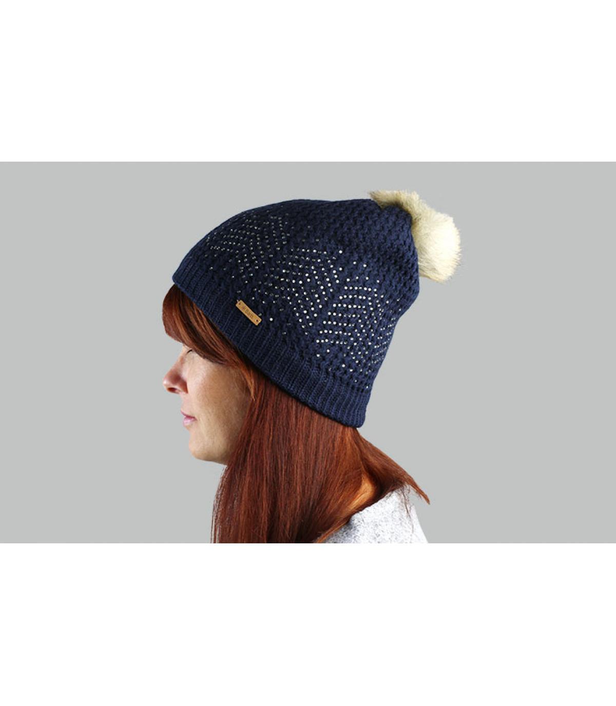 cappello pompon in pelliccia blu