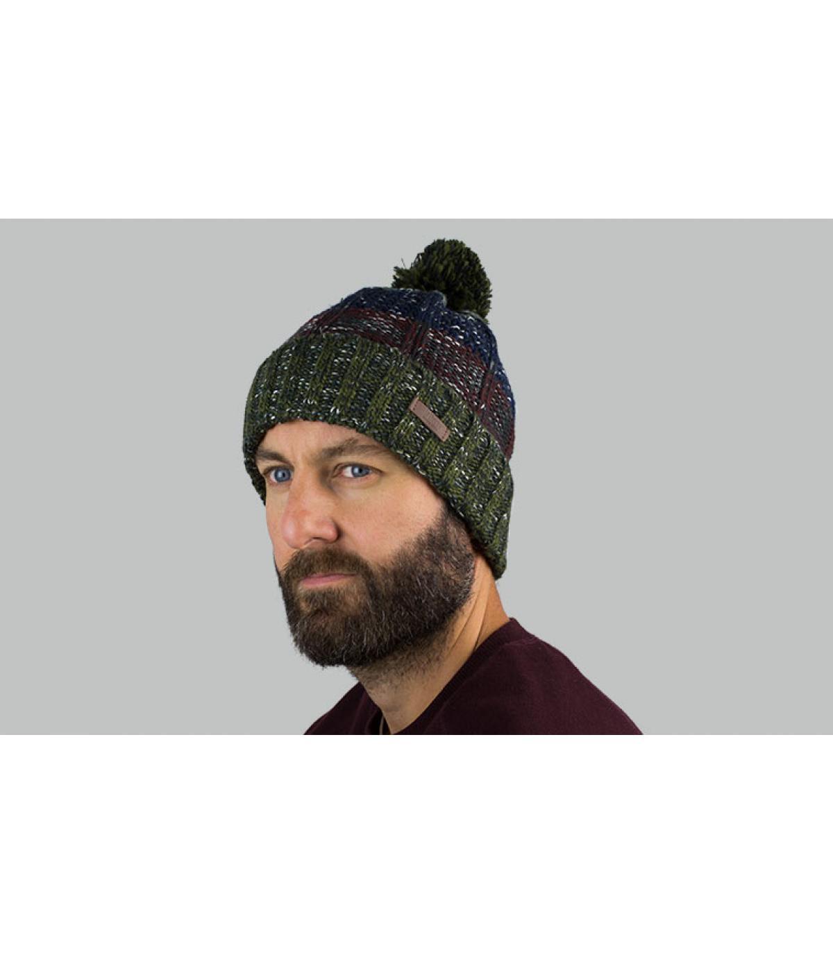 cappello nappa a strisce verde blu