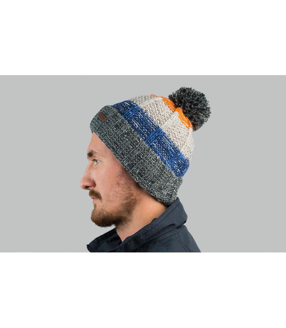 cappello nappa a strisce grigio blu