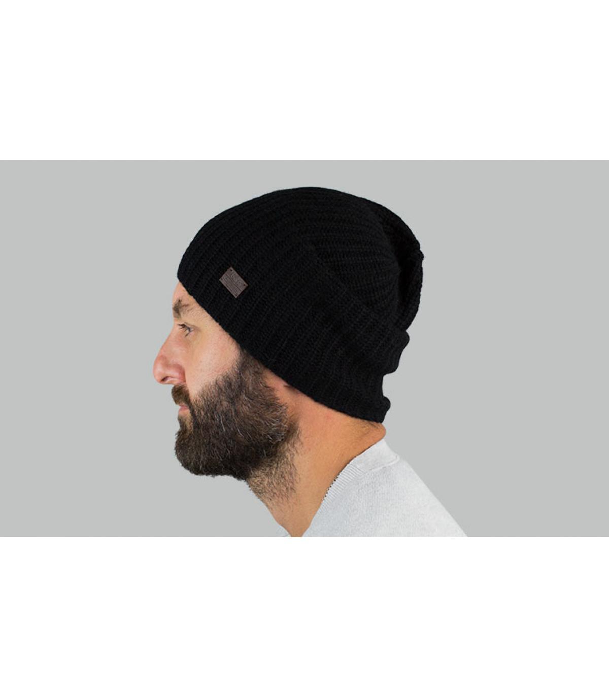 lungo berretto di cachemire nero