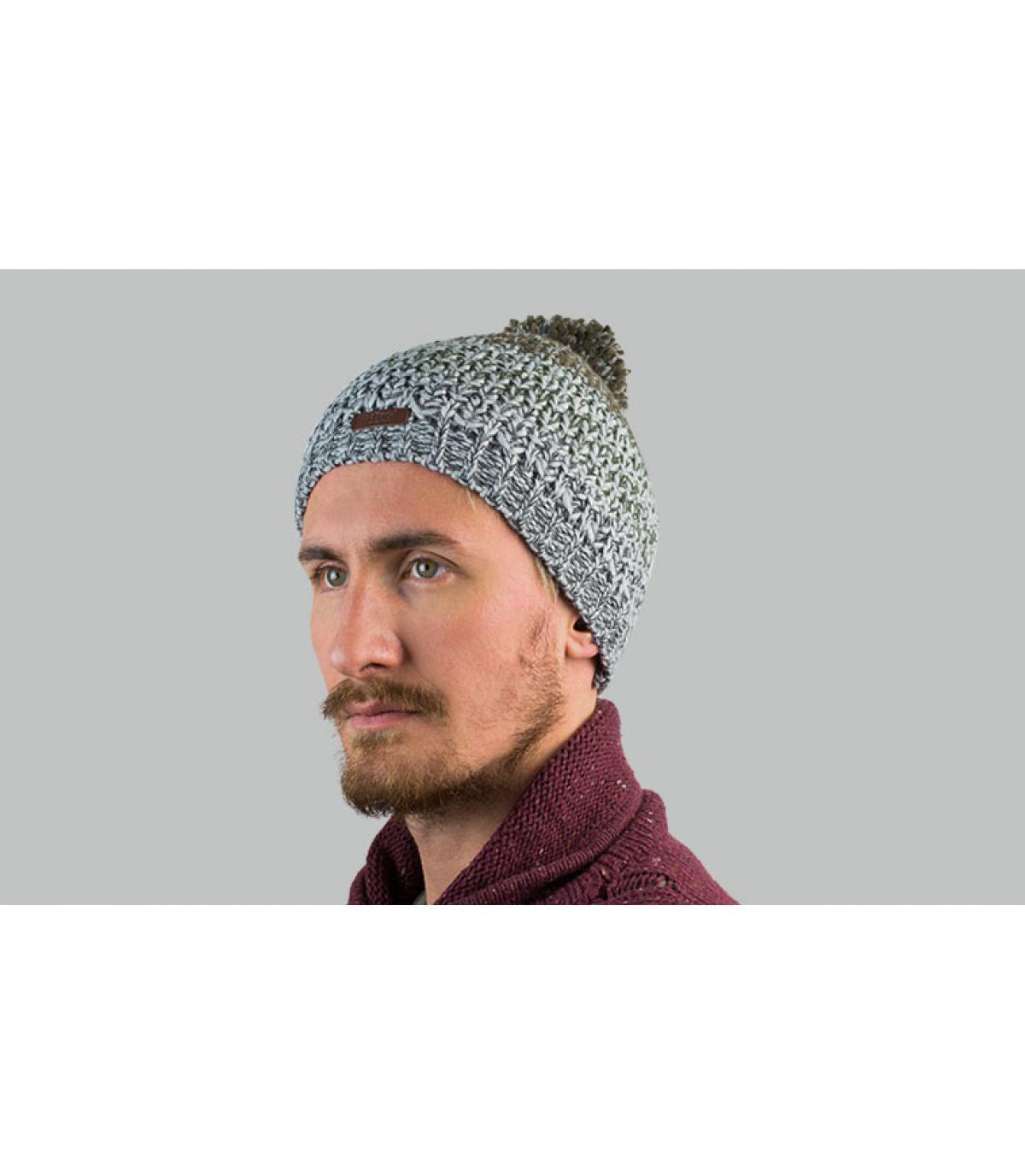 cappello a righe grigio pompon