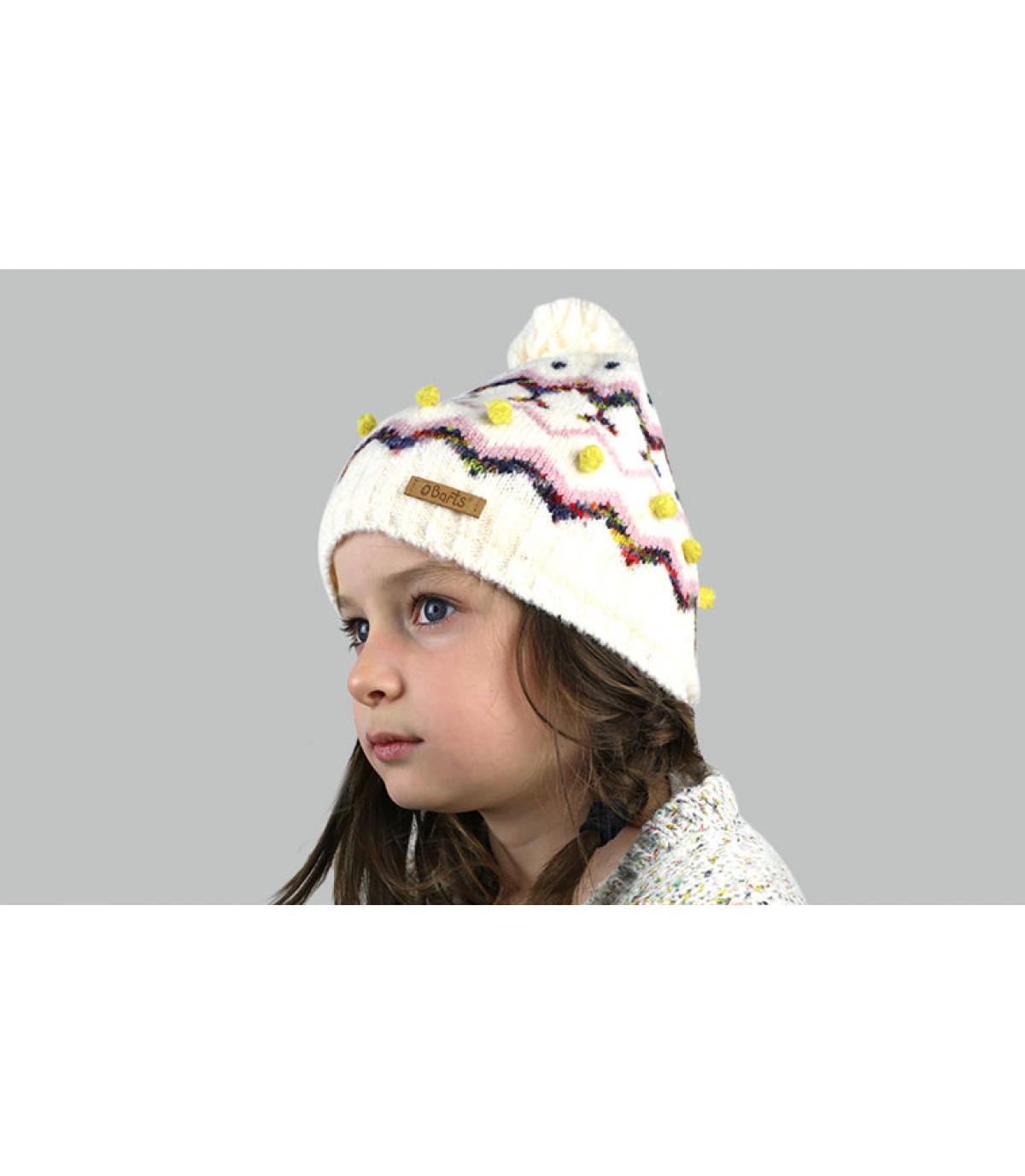 Cappellino beige pom pom
