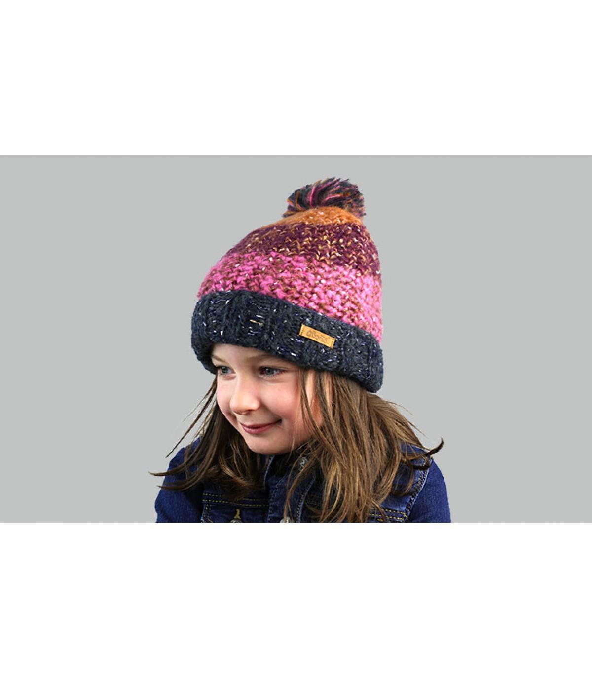 cappello a strisce viola bambino