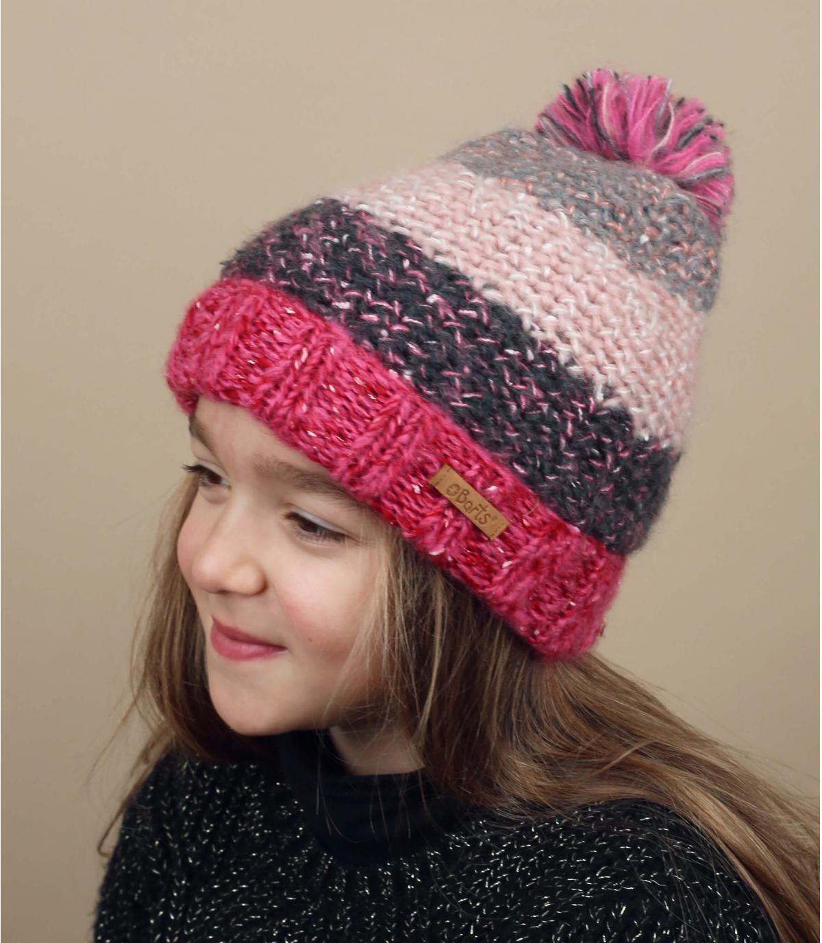 cappello a strisce bambino rosa