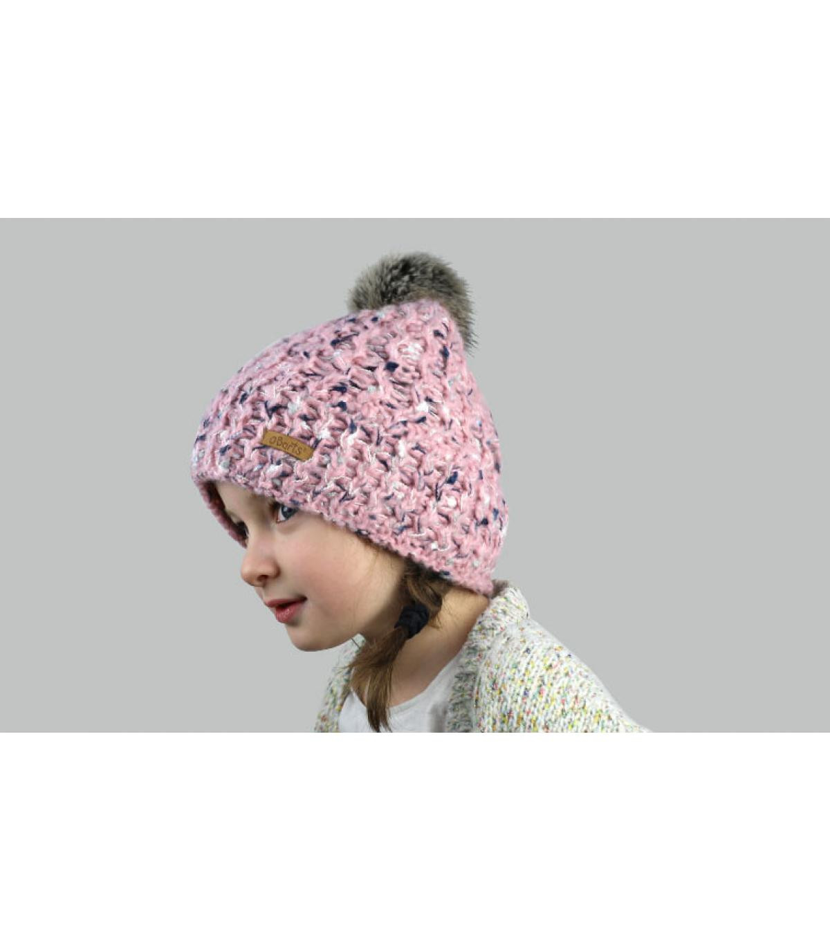 pelliccia di pompon bambino cappello rosa