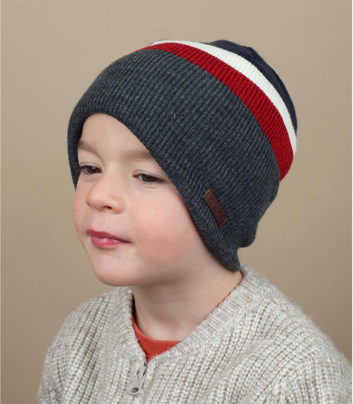 cappello da bambino blu grigio rosso