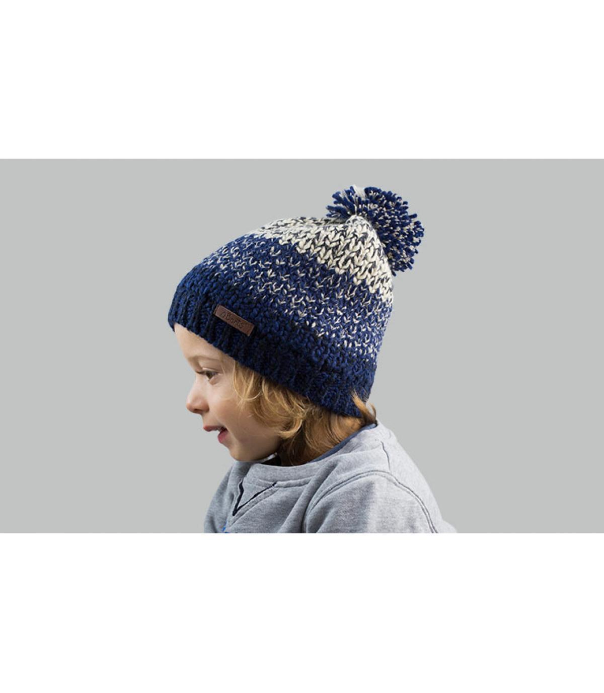 cappello pompom bambino blu