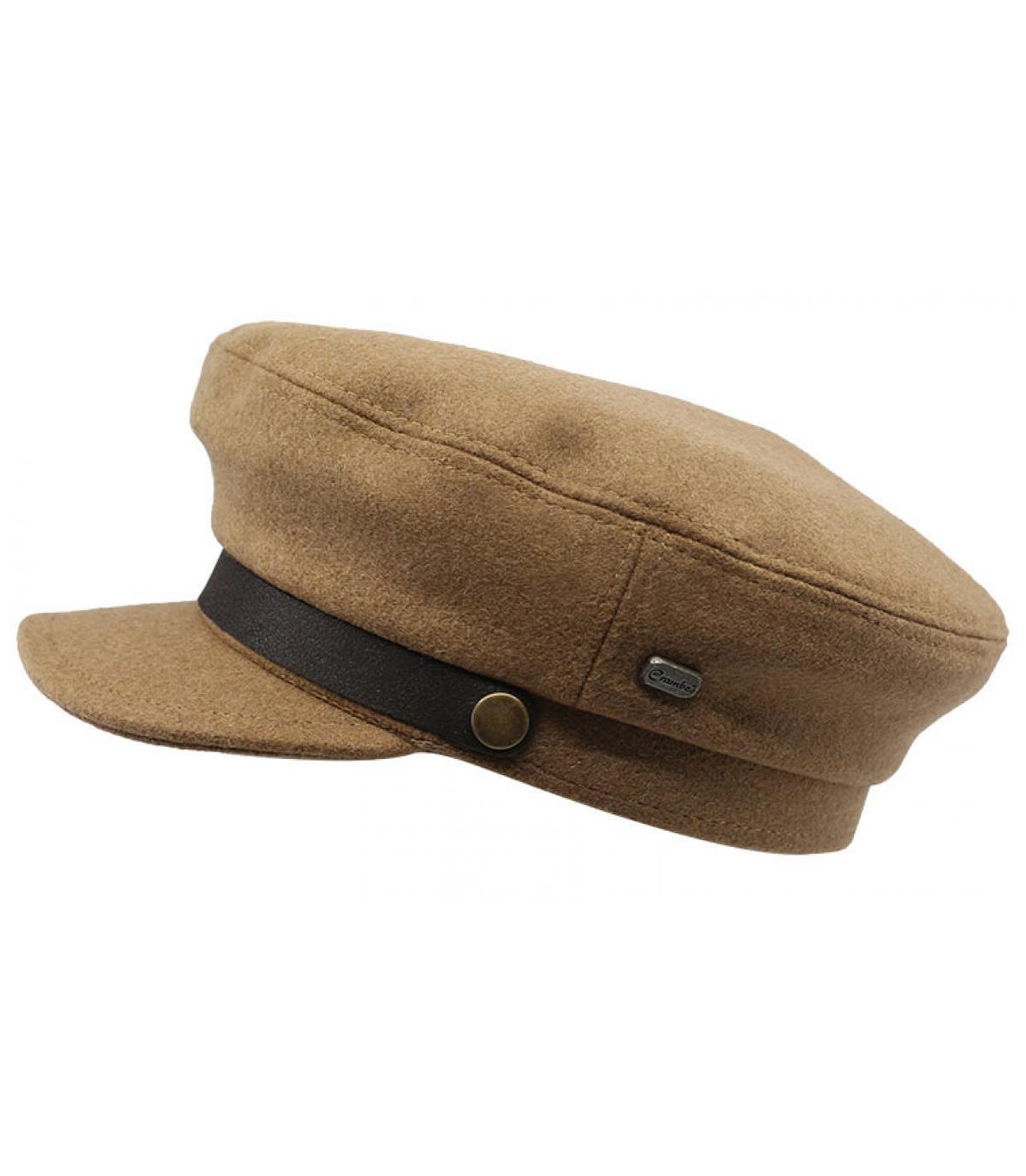 berretto da marina in lana beige