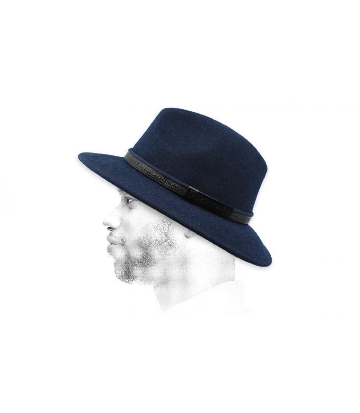 fedora lana blu navy