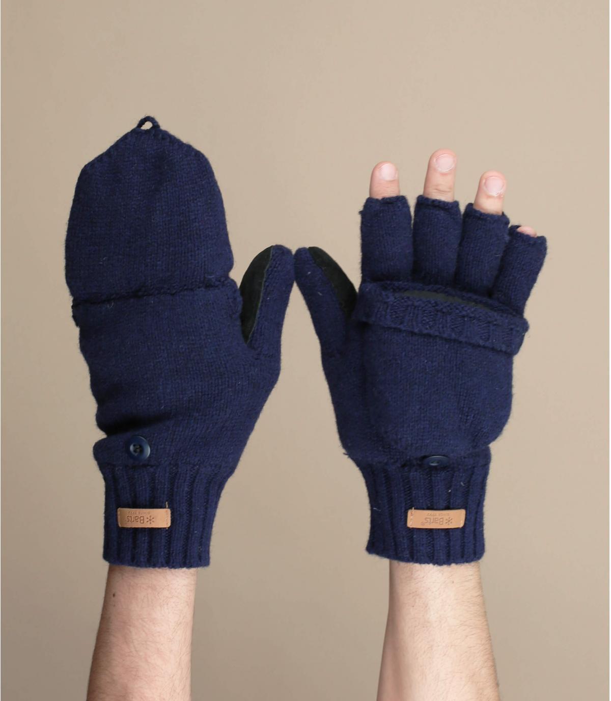 Guanti senza dita blu