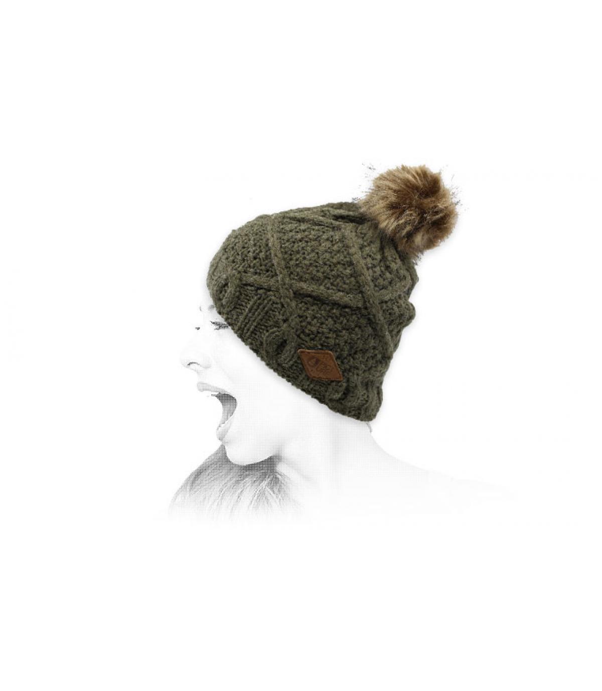bonnet khaki pompon fur