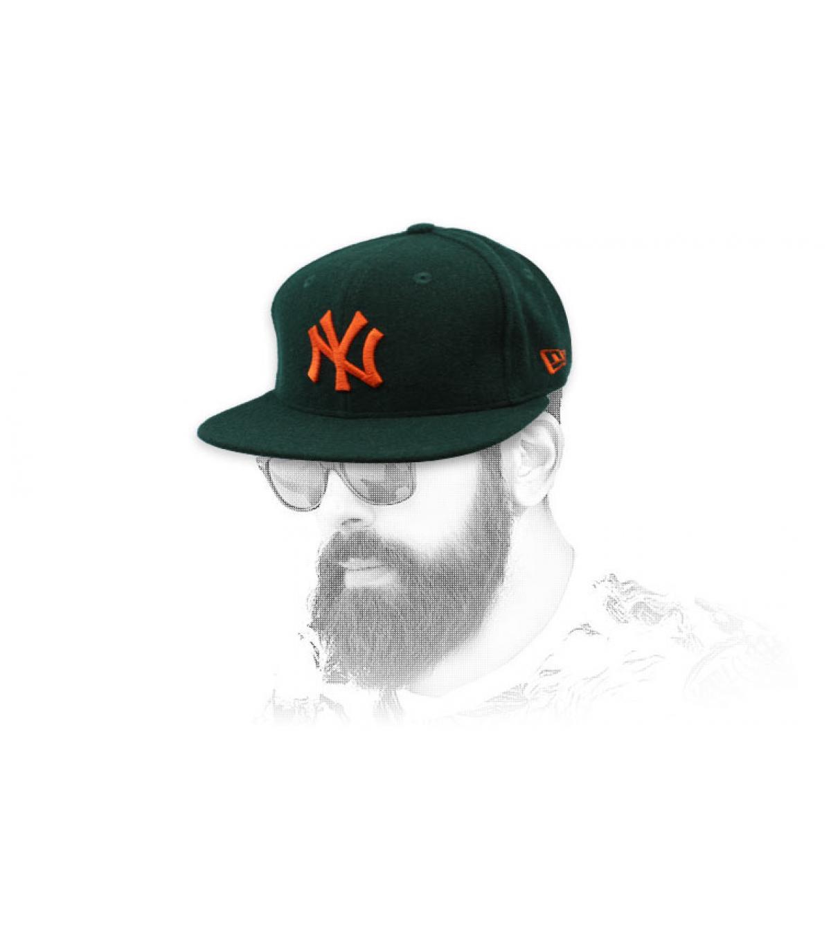 snapback NY verde lana arancione