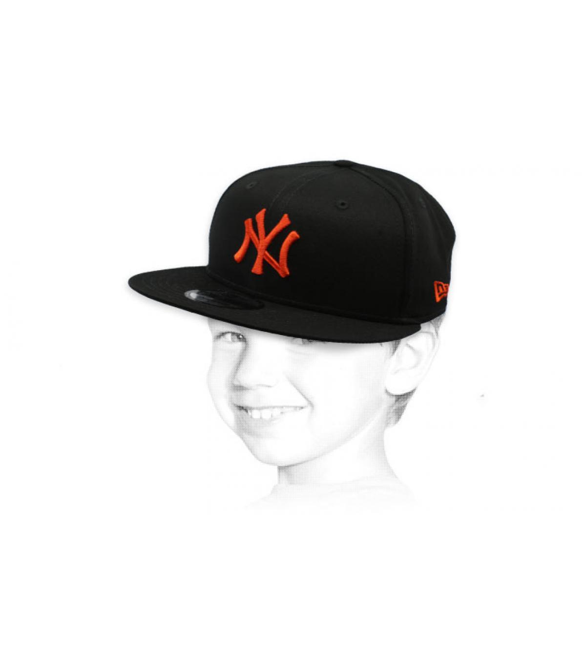 snapback bambino NY nero arancio