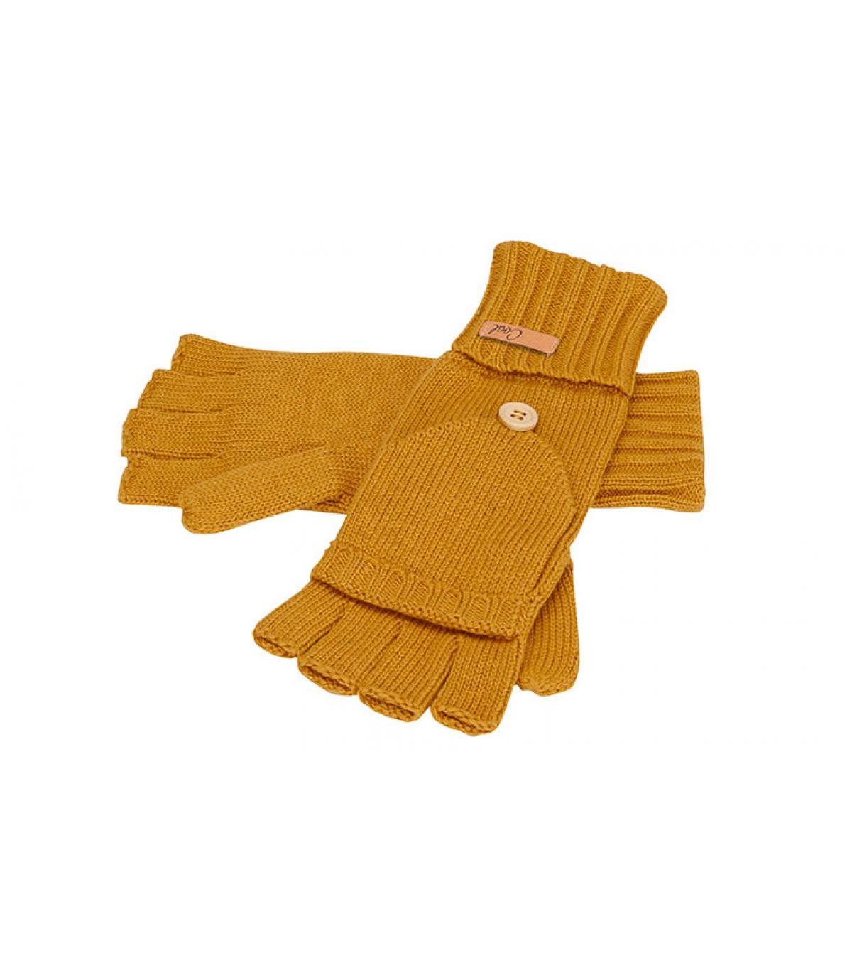 guantes de mitones de color amarillo mostaza