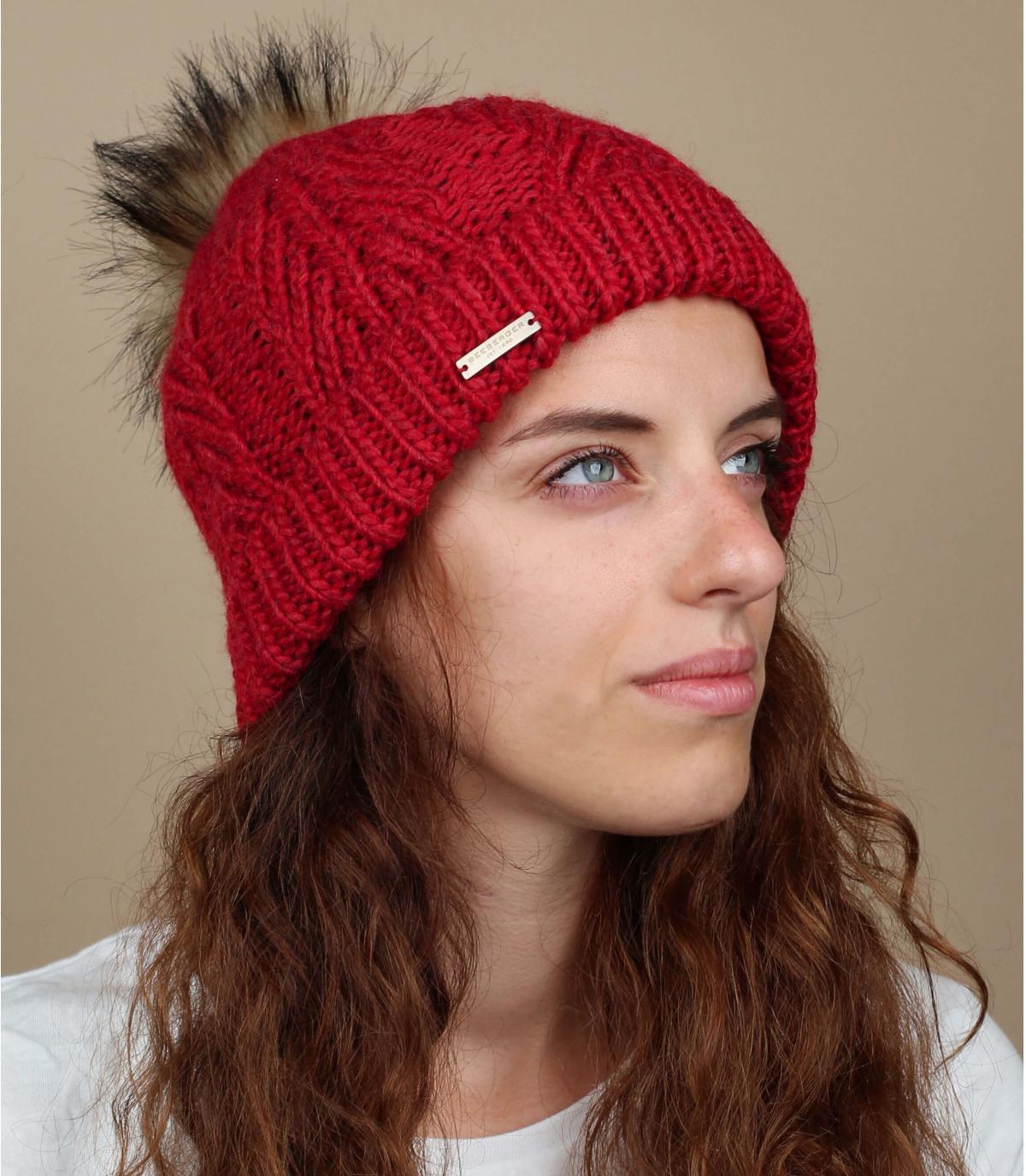 pelliccia di nappa di berretto rosso