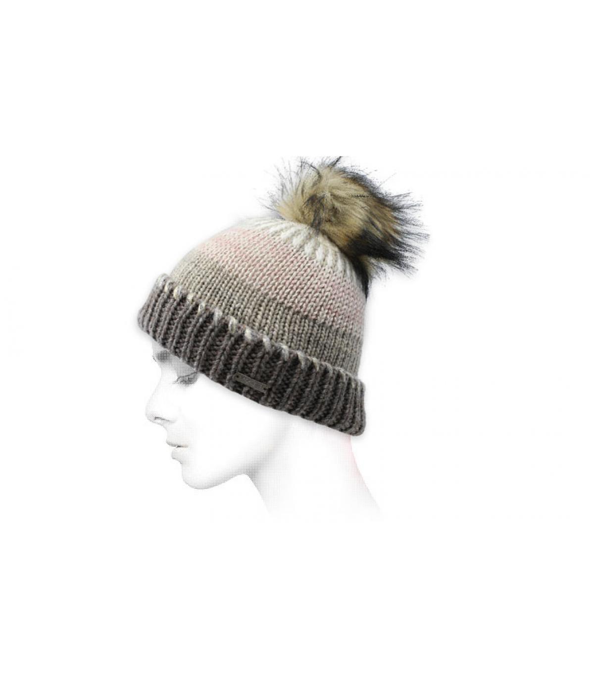 cappello a strisce beige grigio