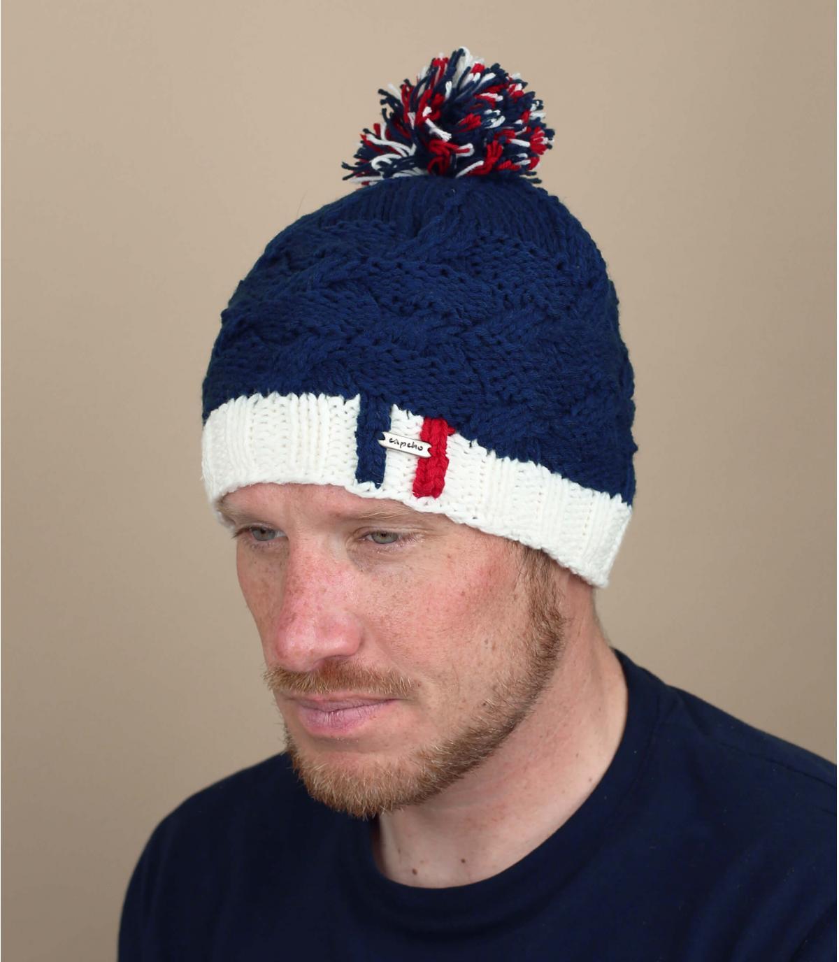 cappello pompom blu marino