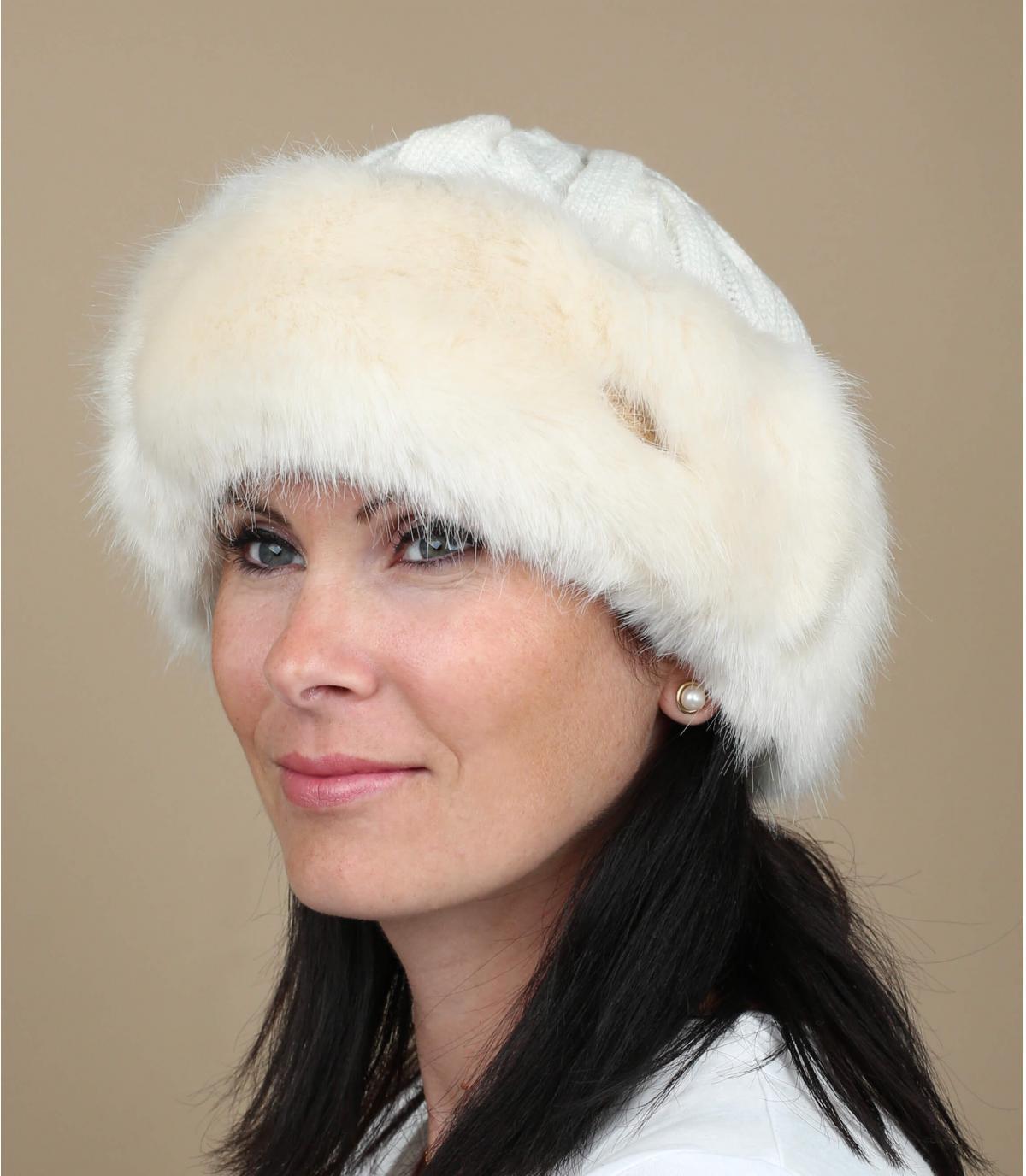 Berretto bande pelliccia bianco