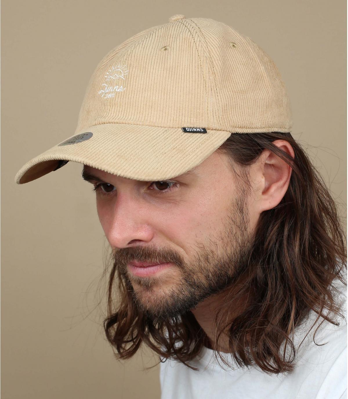 cappello di velluto beige Djinns