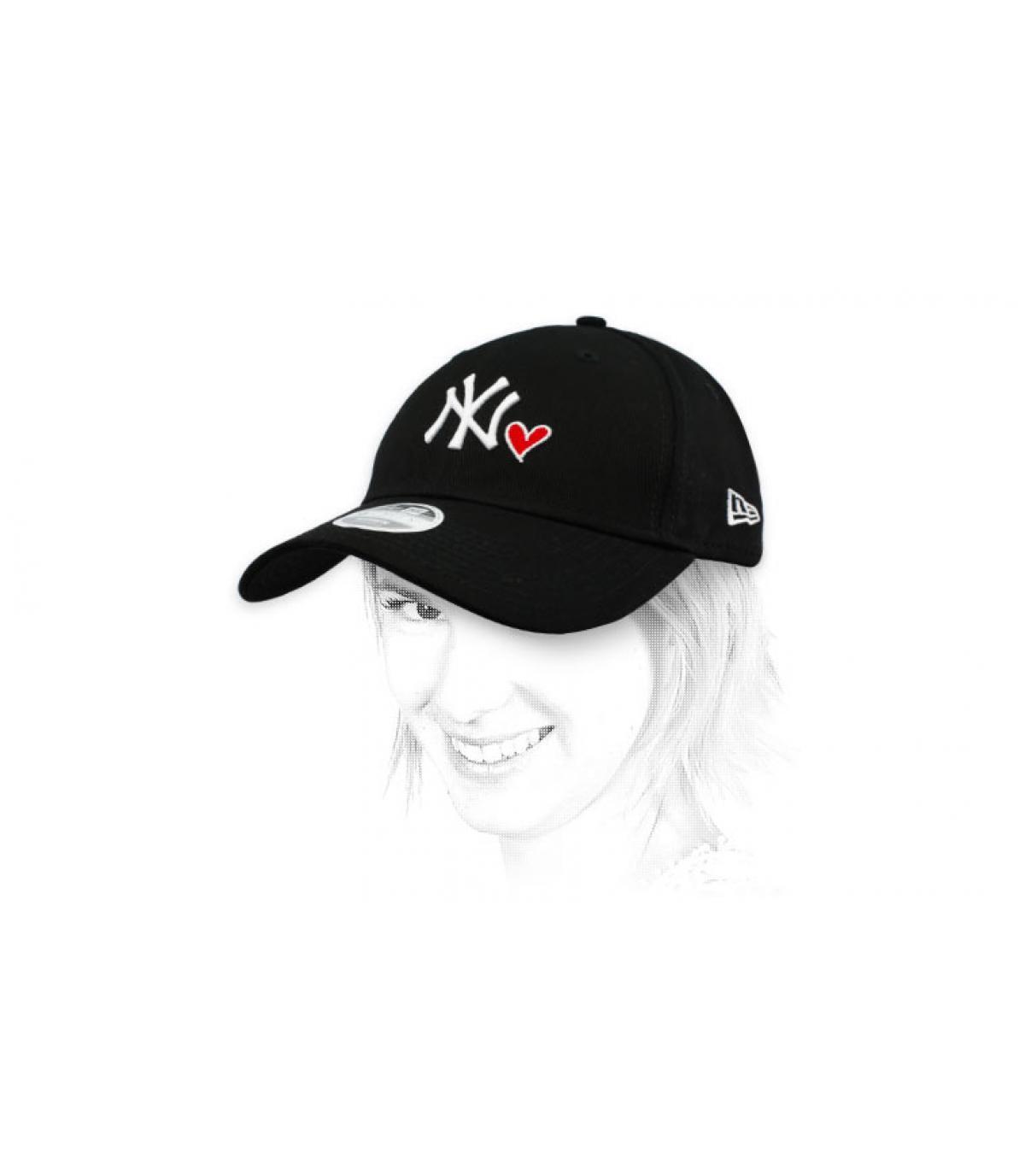 NY black heart cap