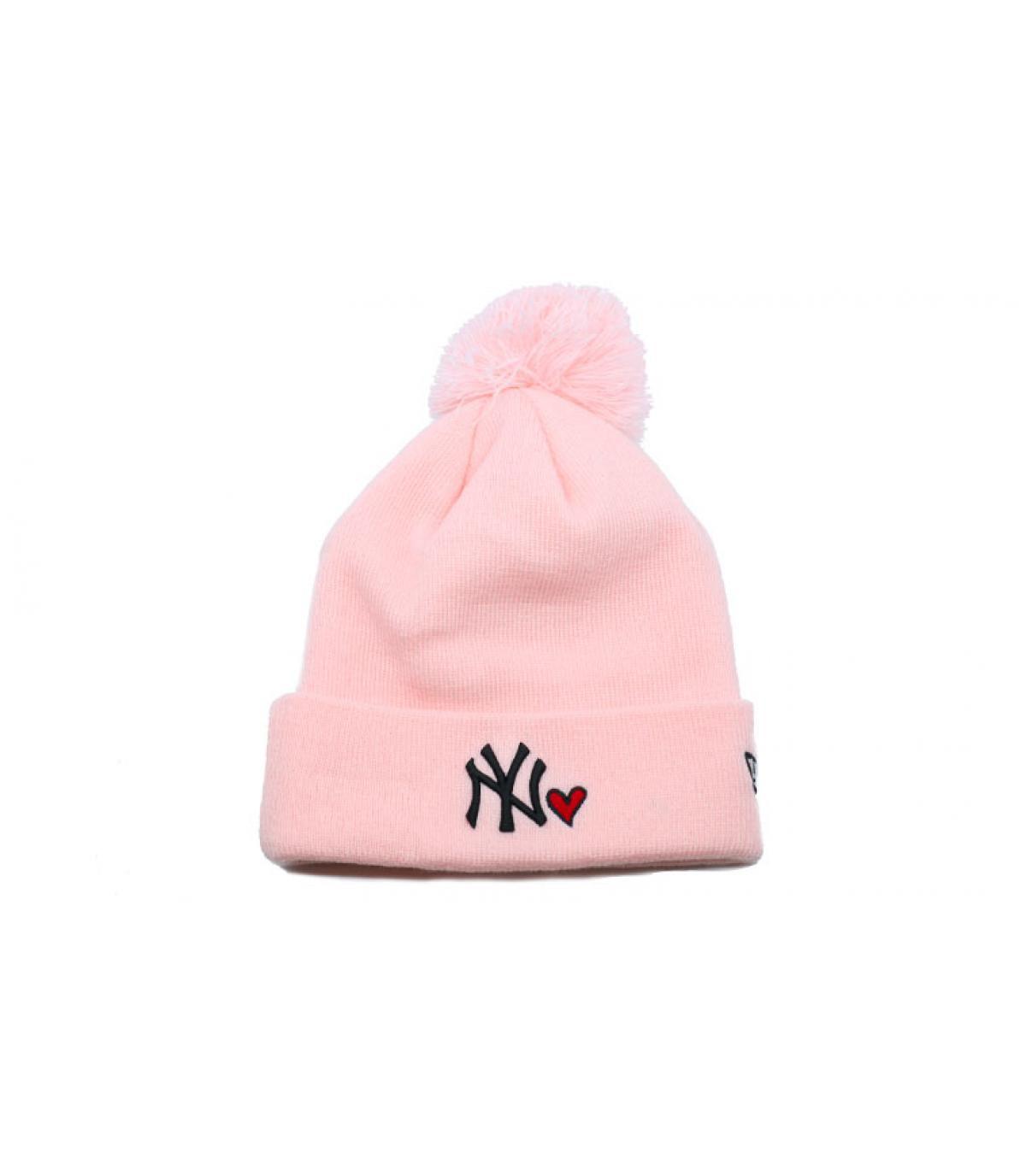 Beanie cuore rosa NY